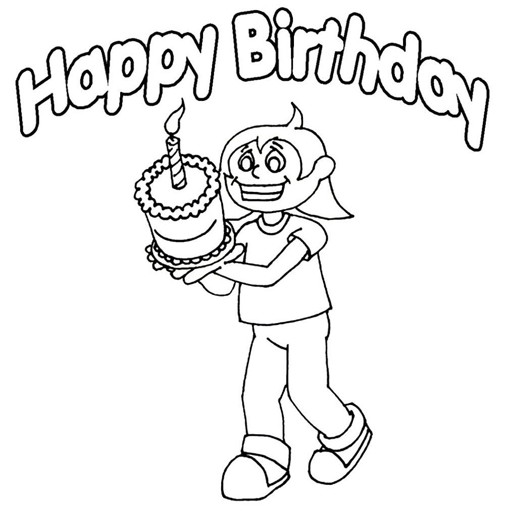 happy birthday color page nice