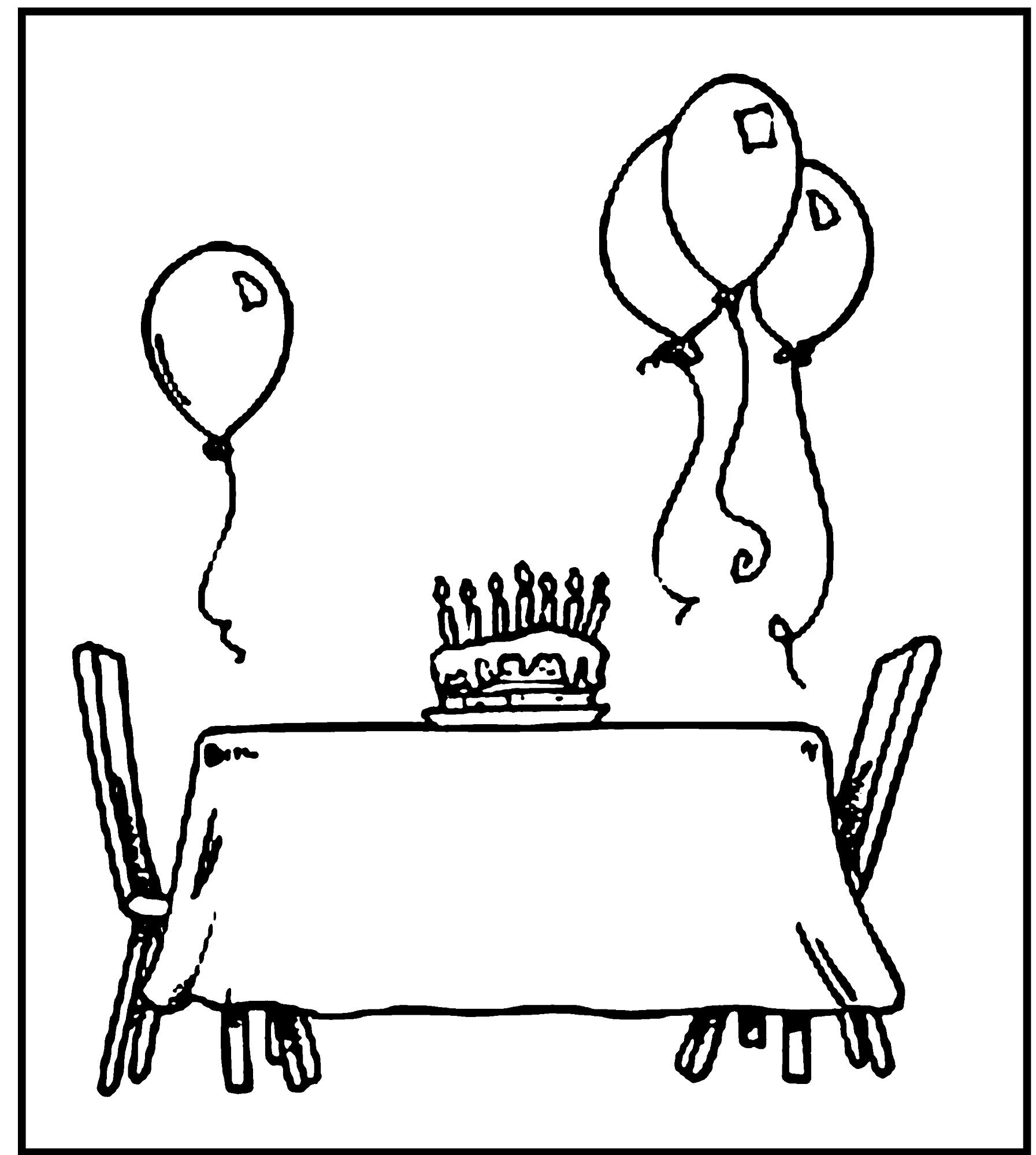 happy birthday color page simple