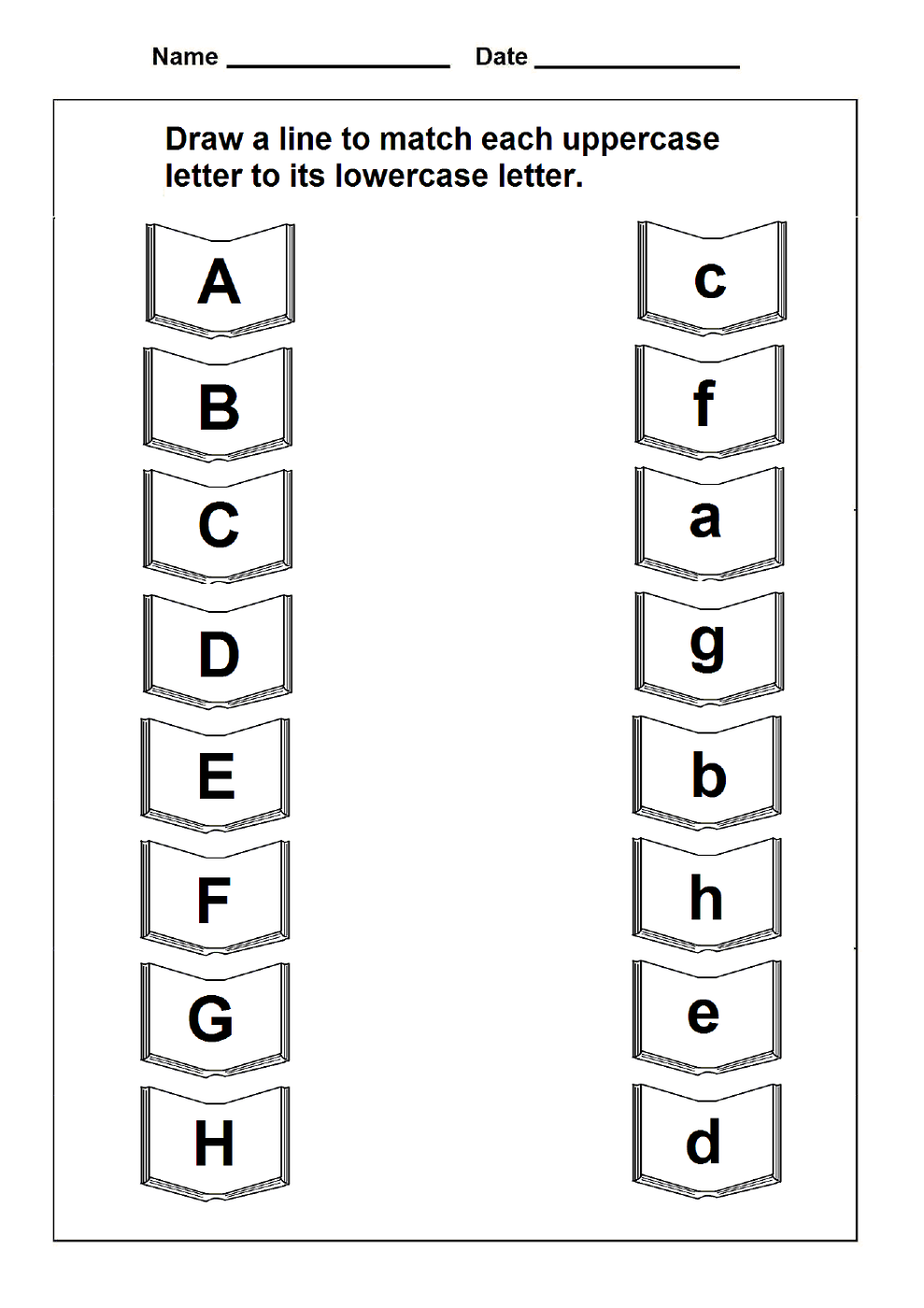 lowercase letter worksheets matching