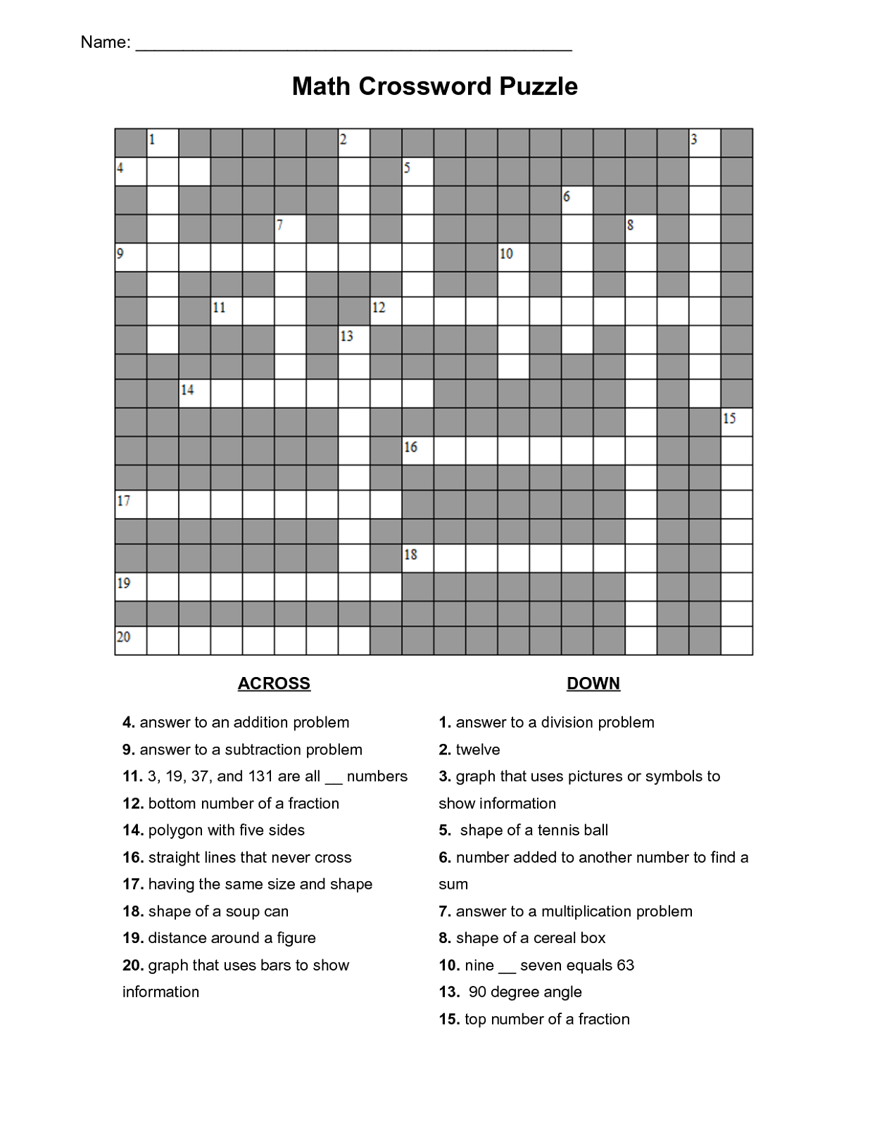 math puzzles printable crossword