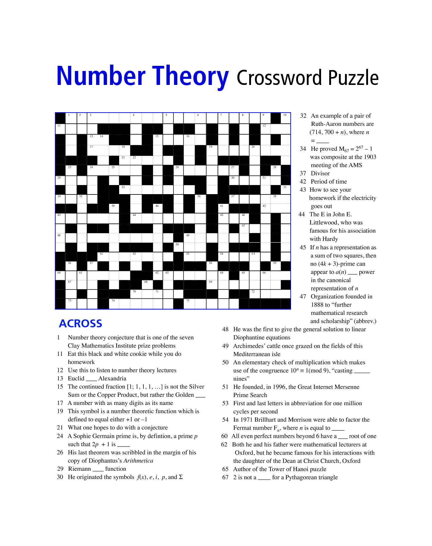 Maths Crossword Puzzles For Class 8 With Answers aprita – Math Crossword Puzzle Worksheets