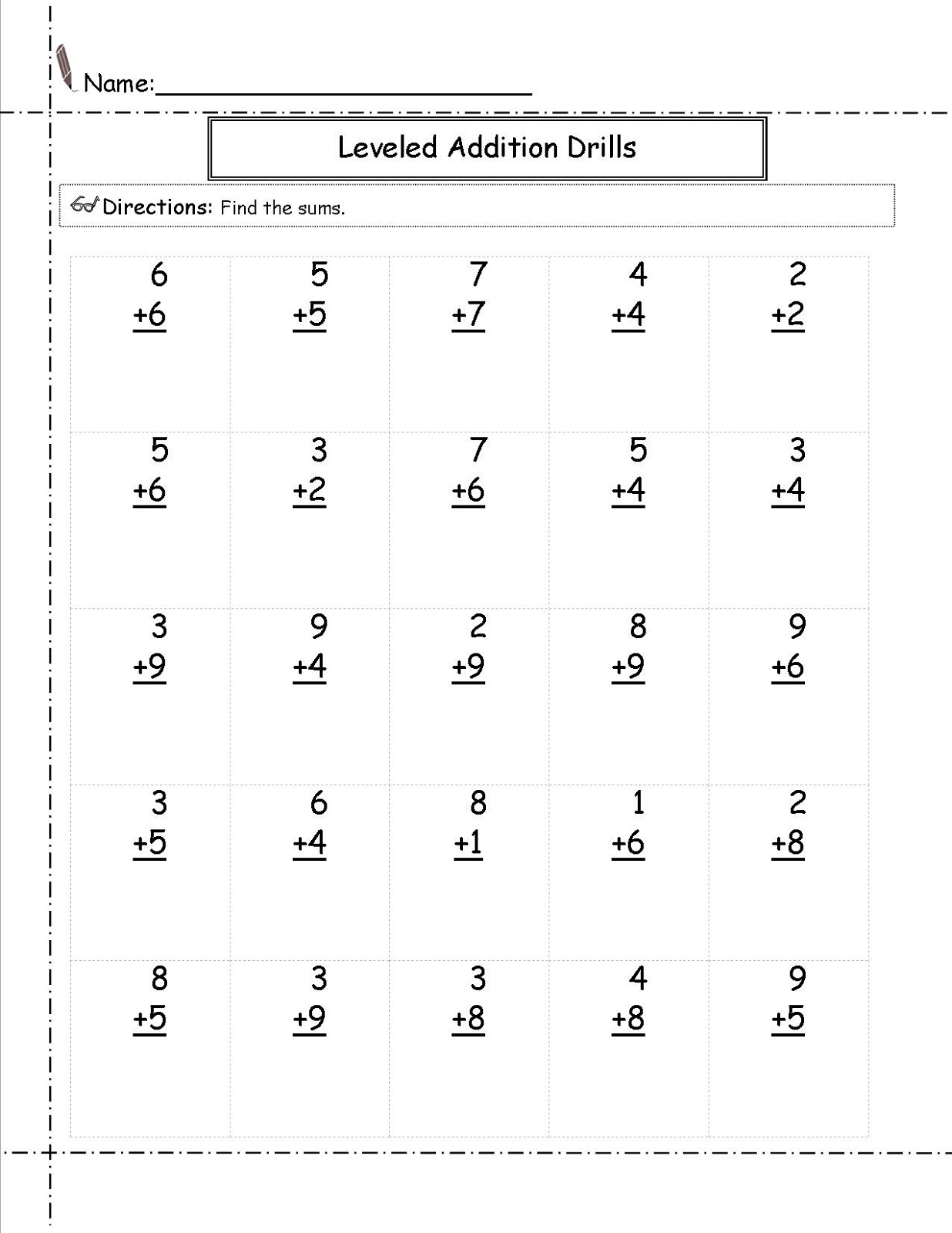 Grade 1 – Addition Worksheet Grade 1