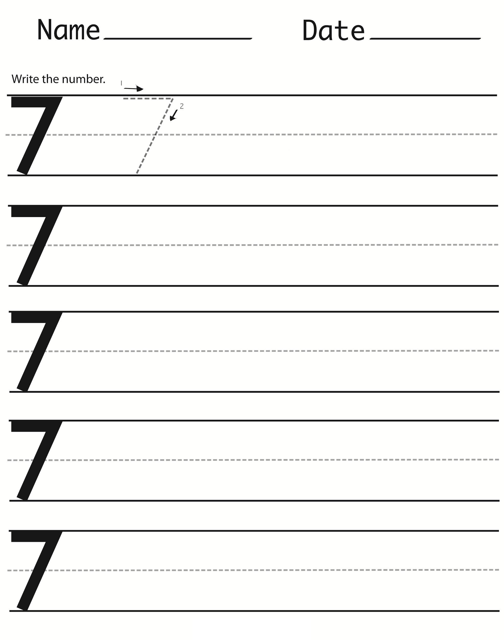number 7 worksheets 2016