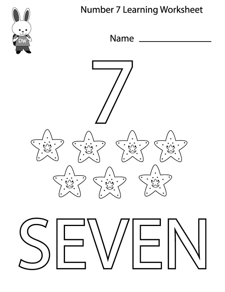 number 7 worksheets for kids