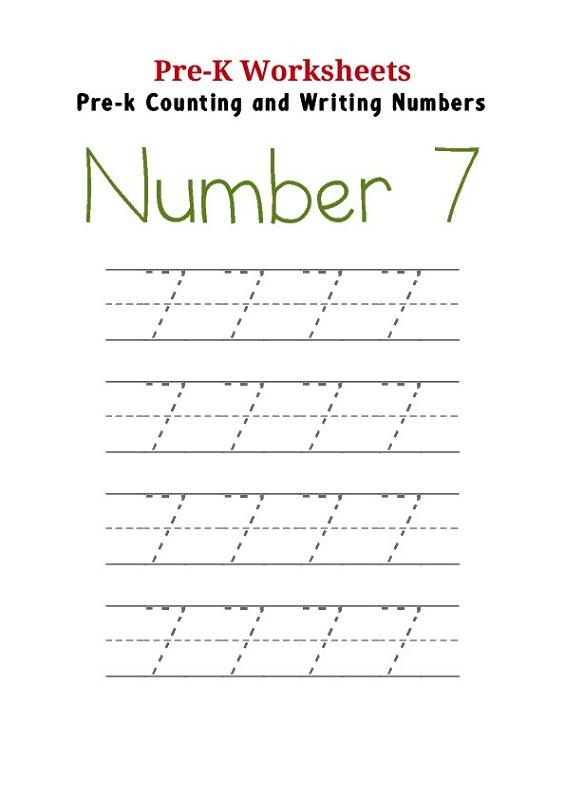number 7 worksheets pre k