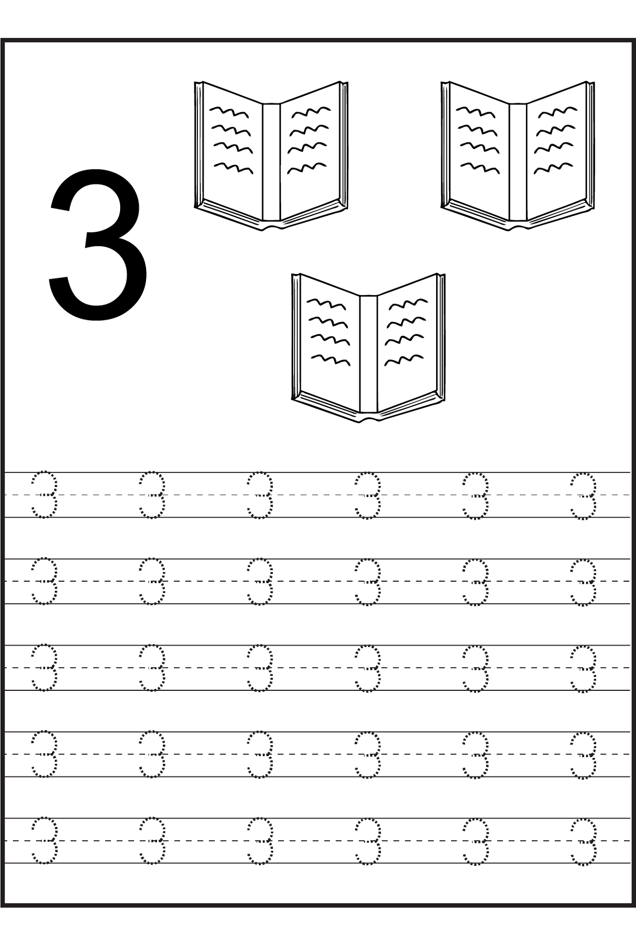 number trace worksheets number 3