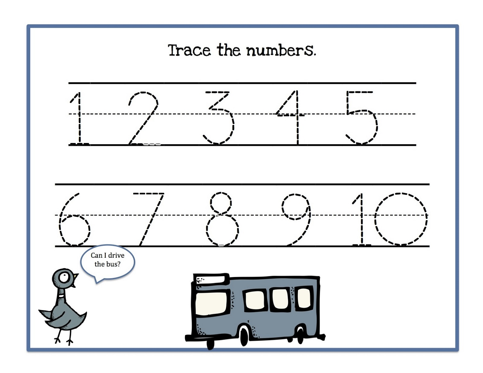 Number Trace Worksheets for Kids – Free Number Tracing Worksheets