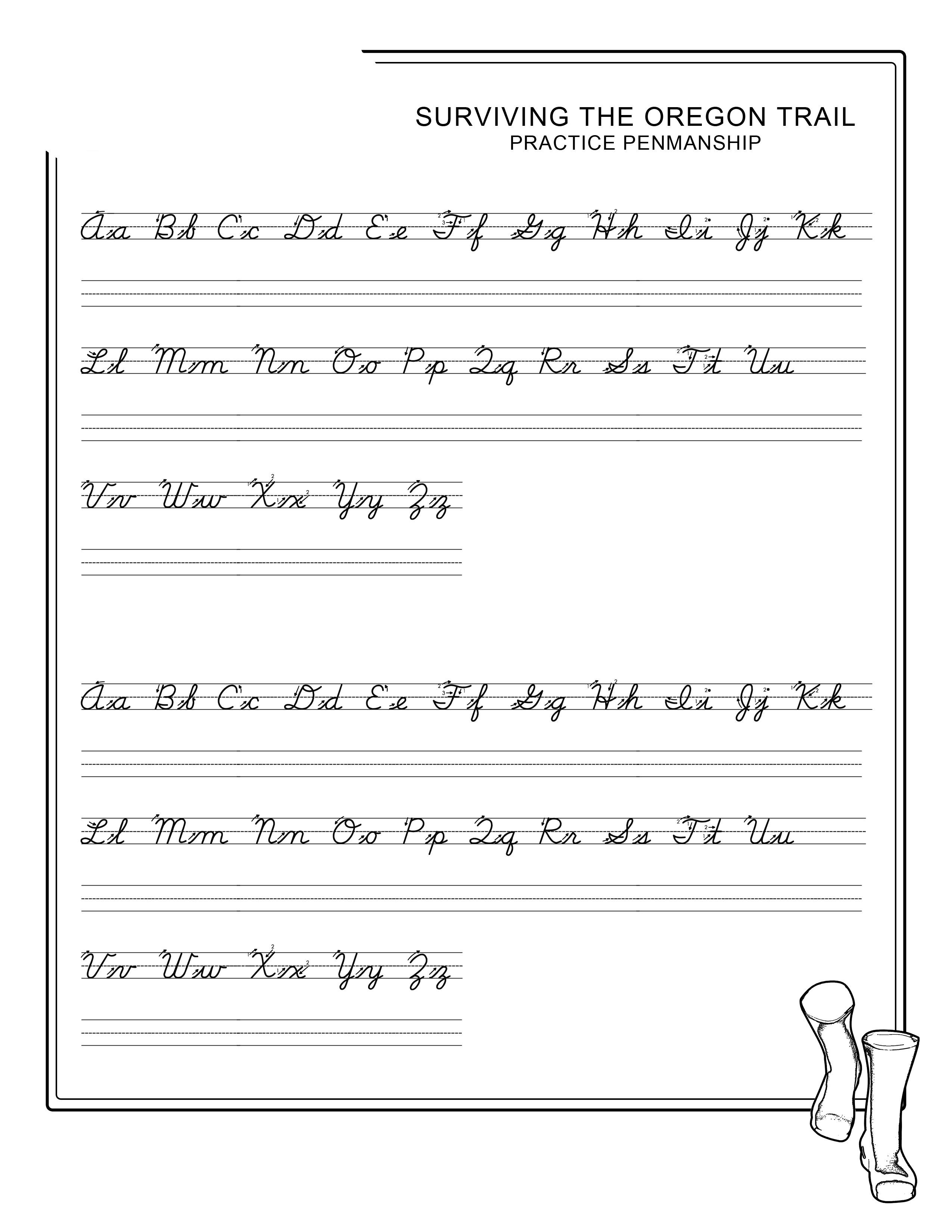 penmanship worksheets tracing
