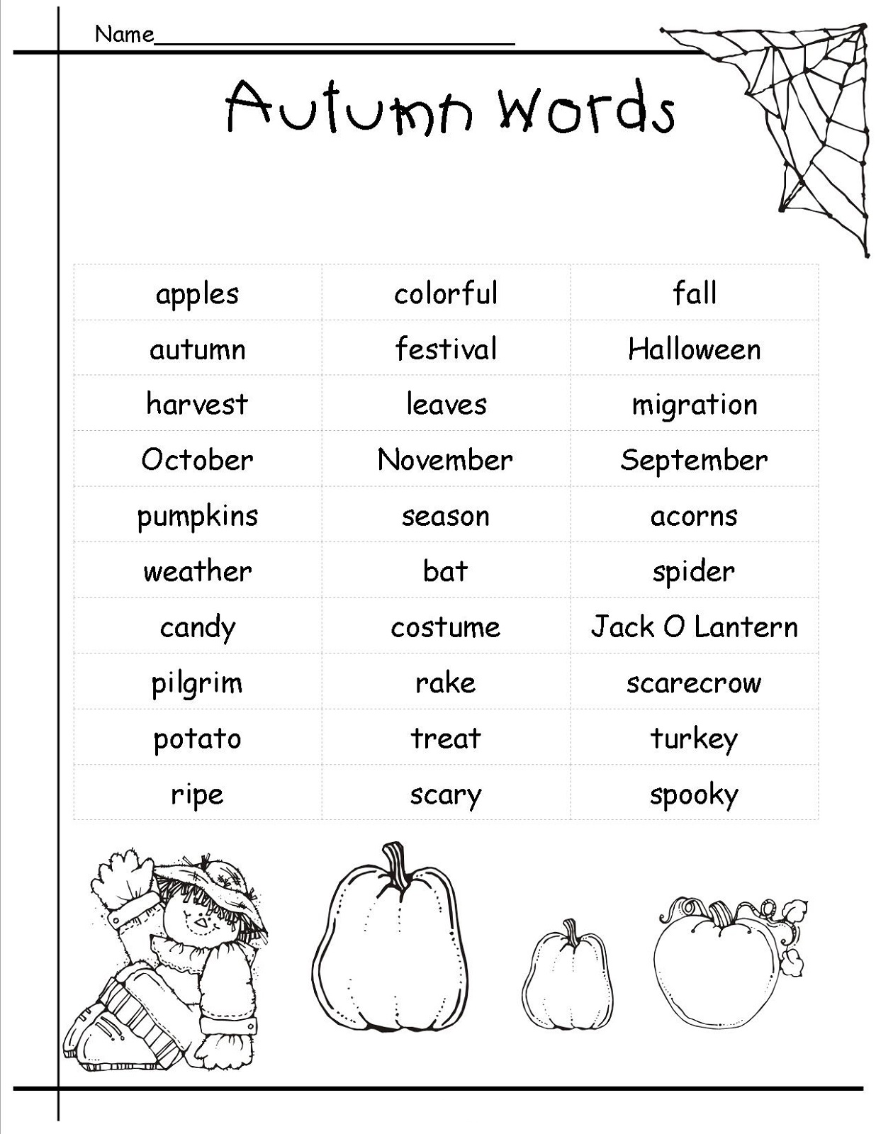 pictionary words for kids autumn theme