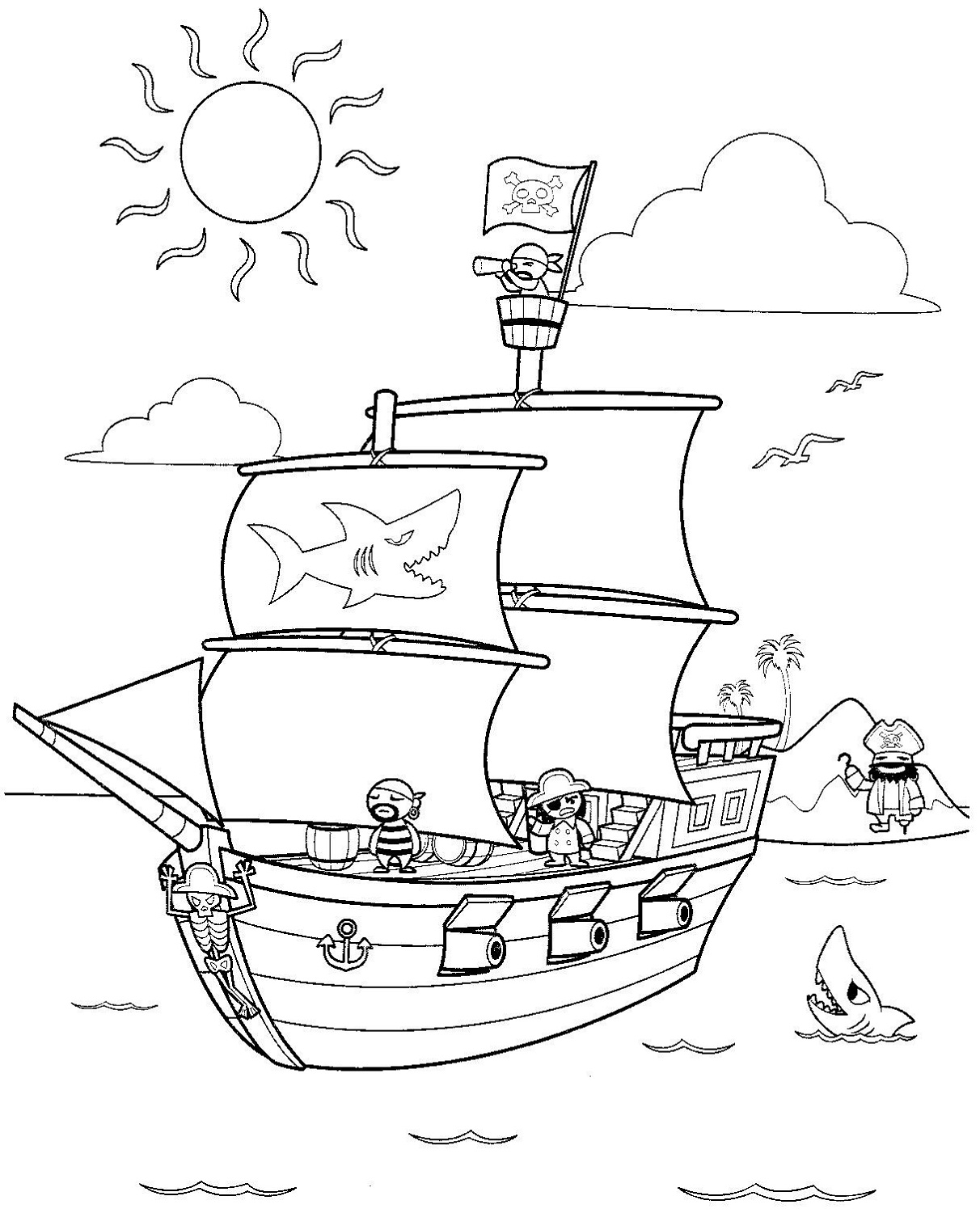 pirate ship pictures for kids coloring