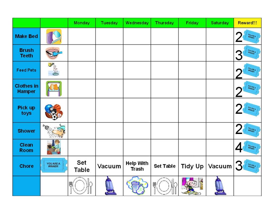 printable behavior charts daily