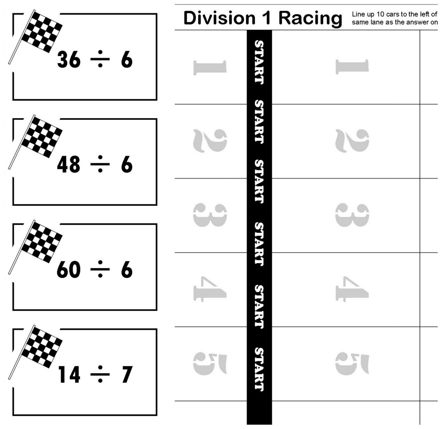 printable math games race theme