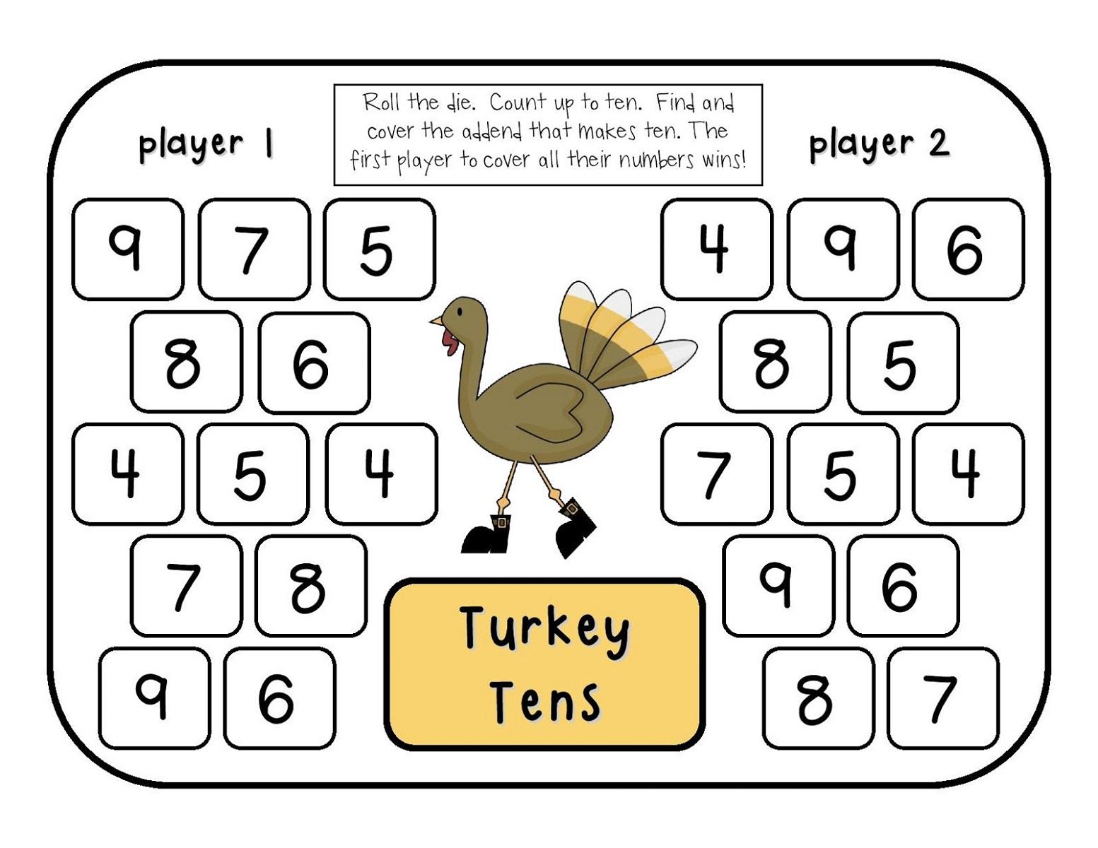 printable math games turkey