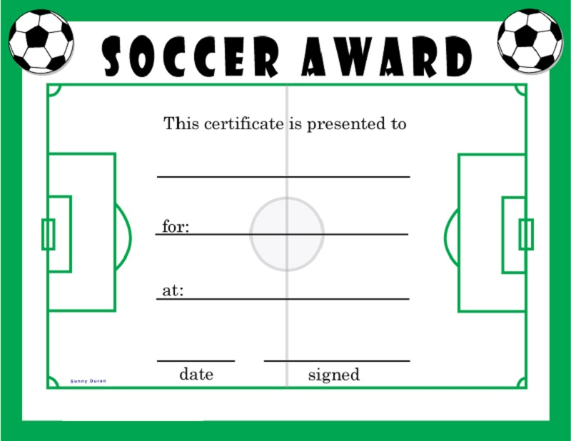 soccer award certificates green