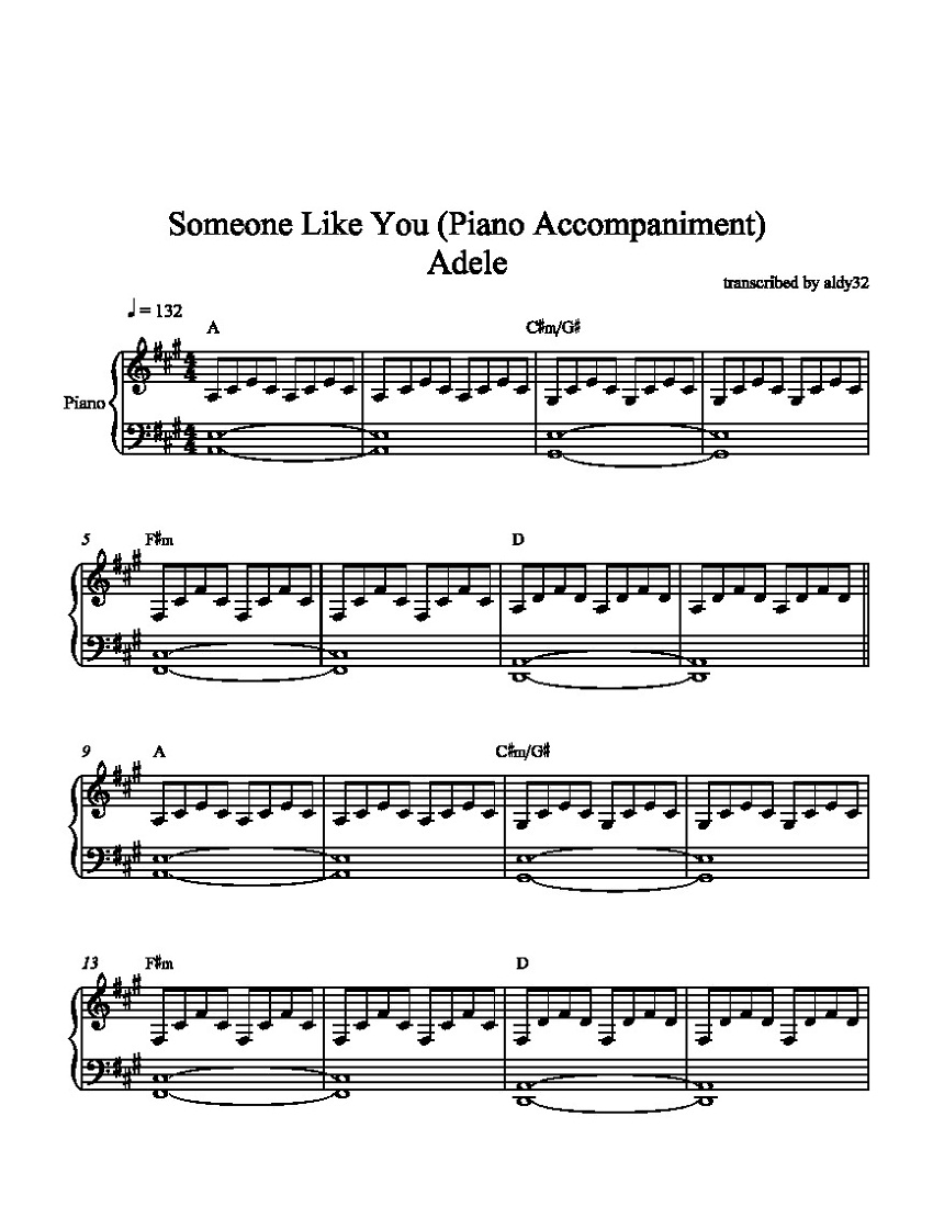 someone like you sheet music for print