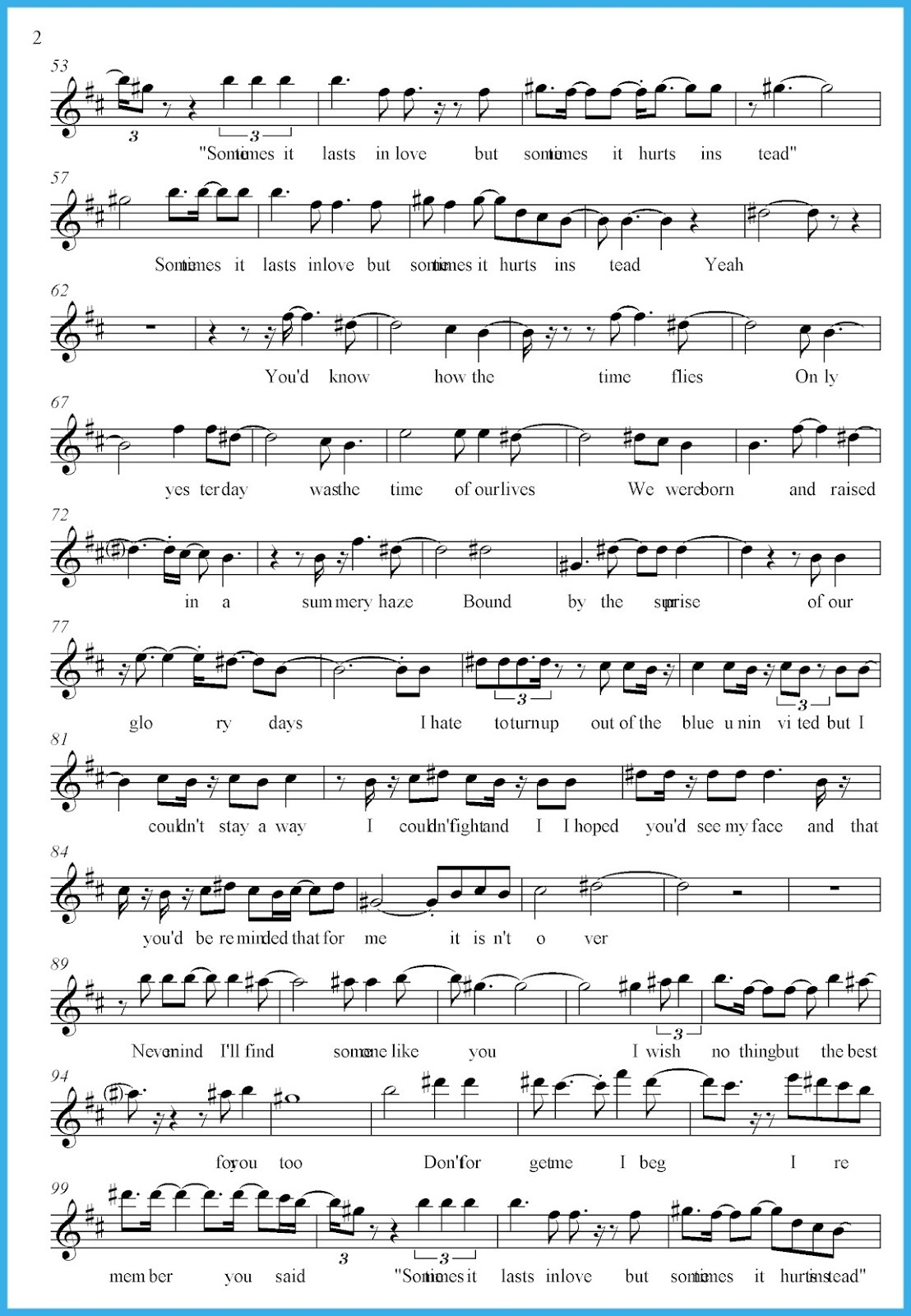 someone like you sheet music new
