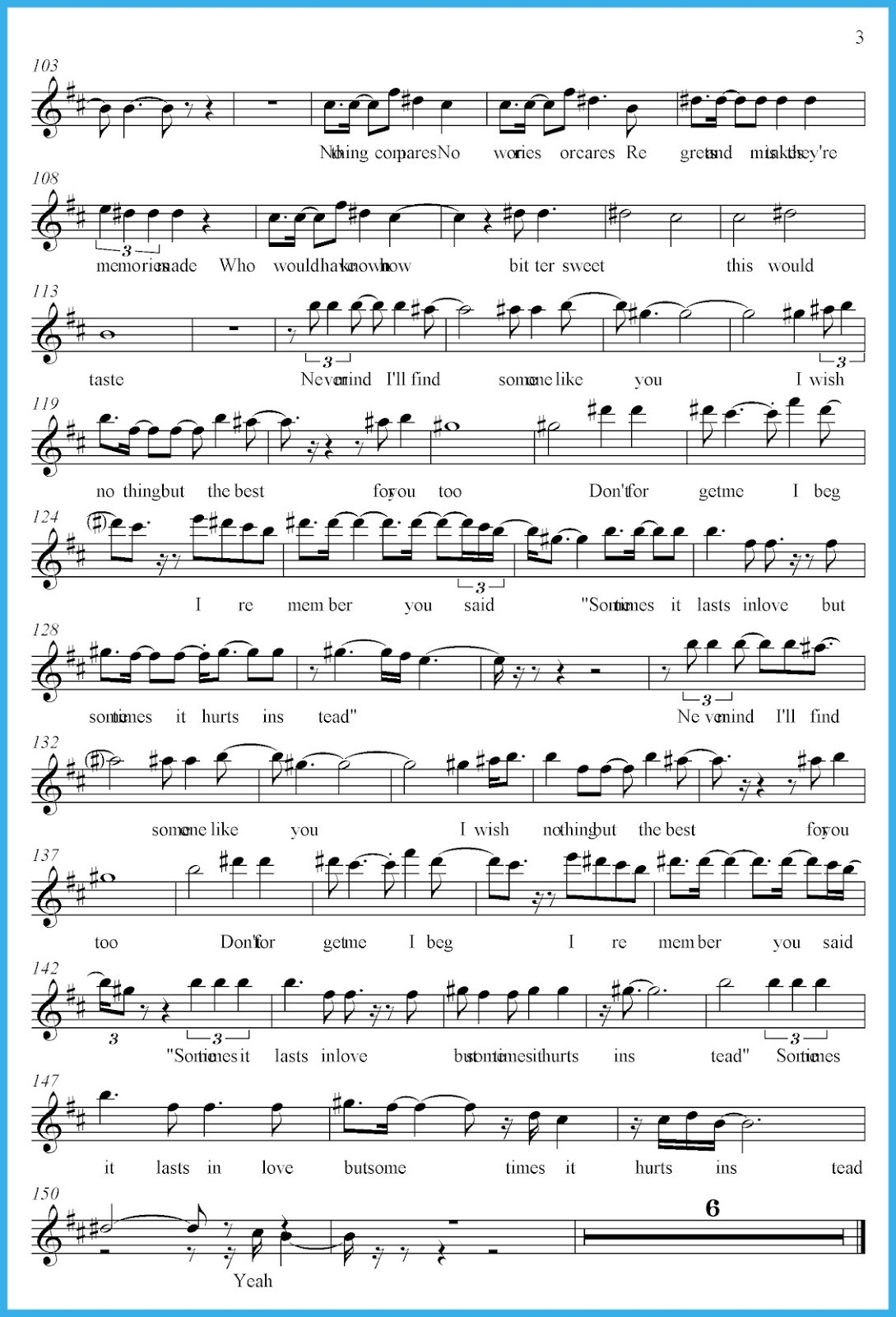 someone like you sheet music simple
