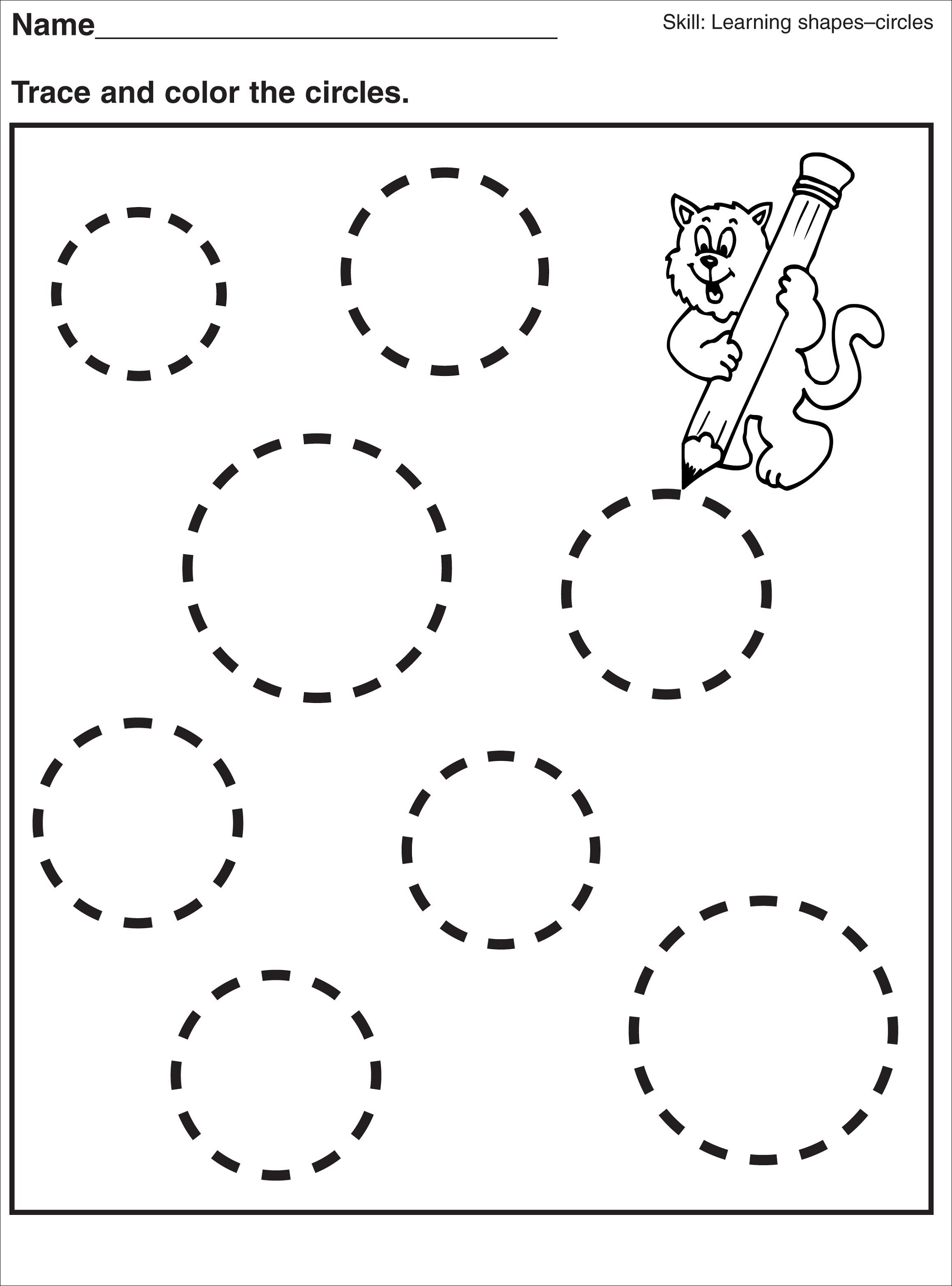 Tracing Pages For Preschool Activity Shelter