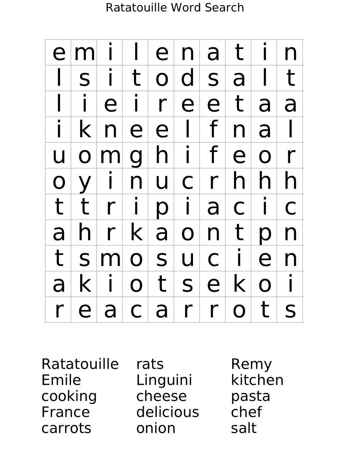 word search worksheet for child
