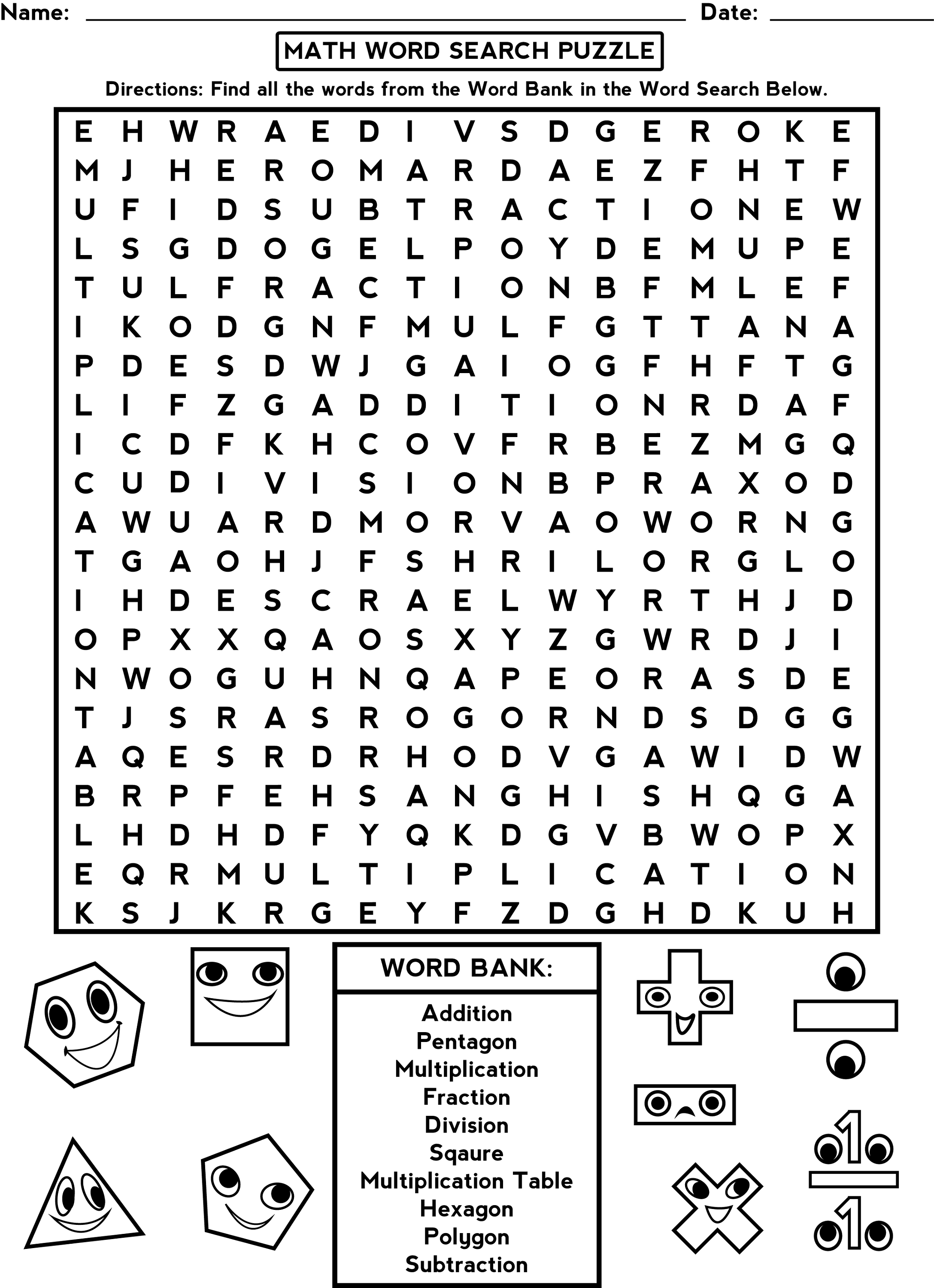 Word Search Worksheets for Brain Activity – Math Crossword Puzzle Worksheets