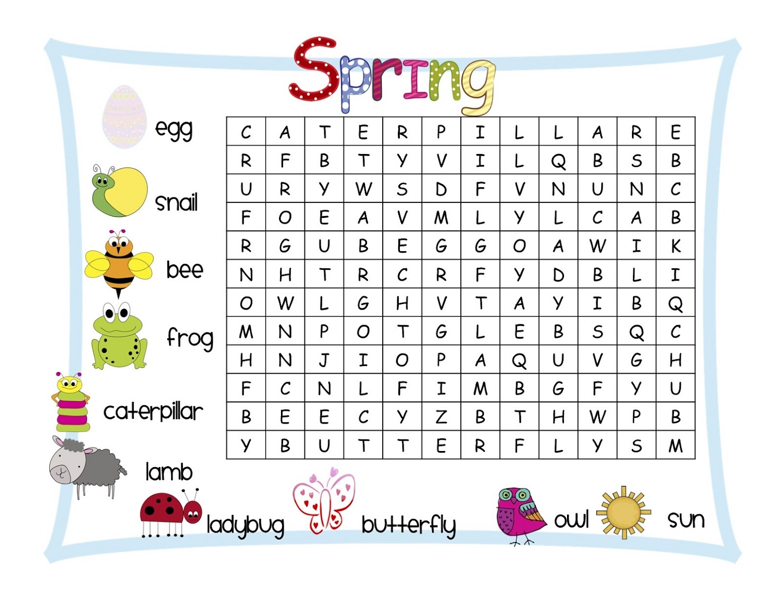 wordsearch for kids with pictures