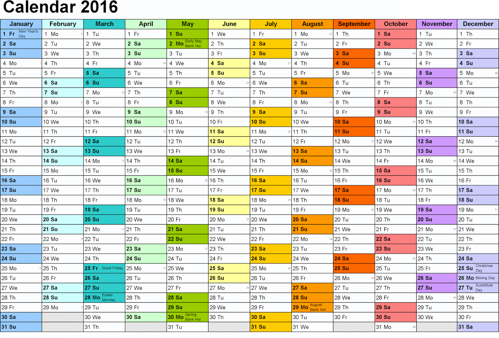 yearly calendar 2016 printable color