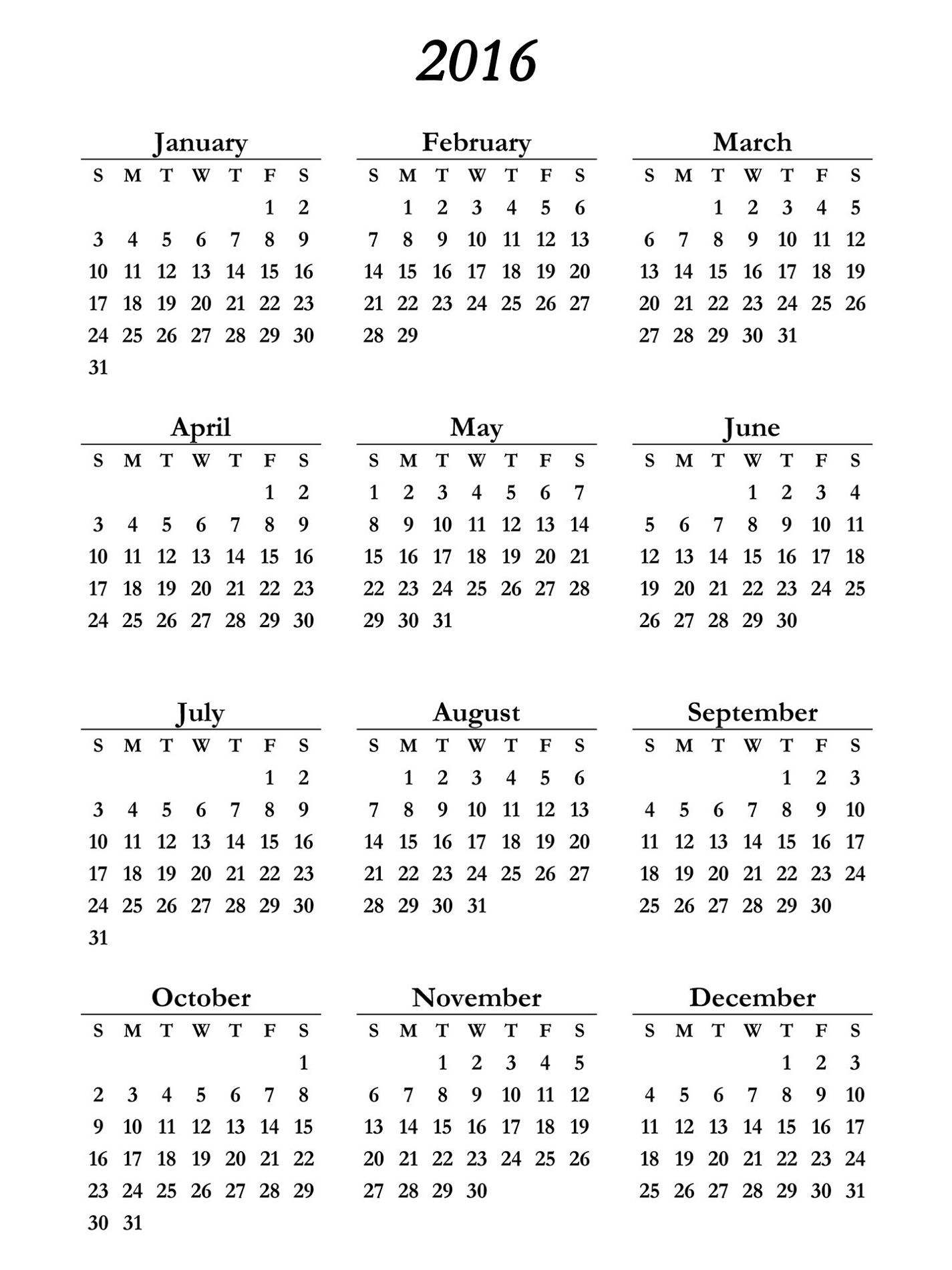 yearly calendar 2016 printable free