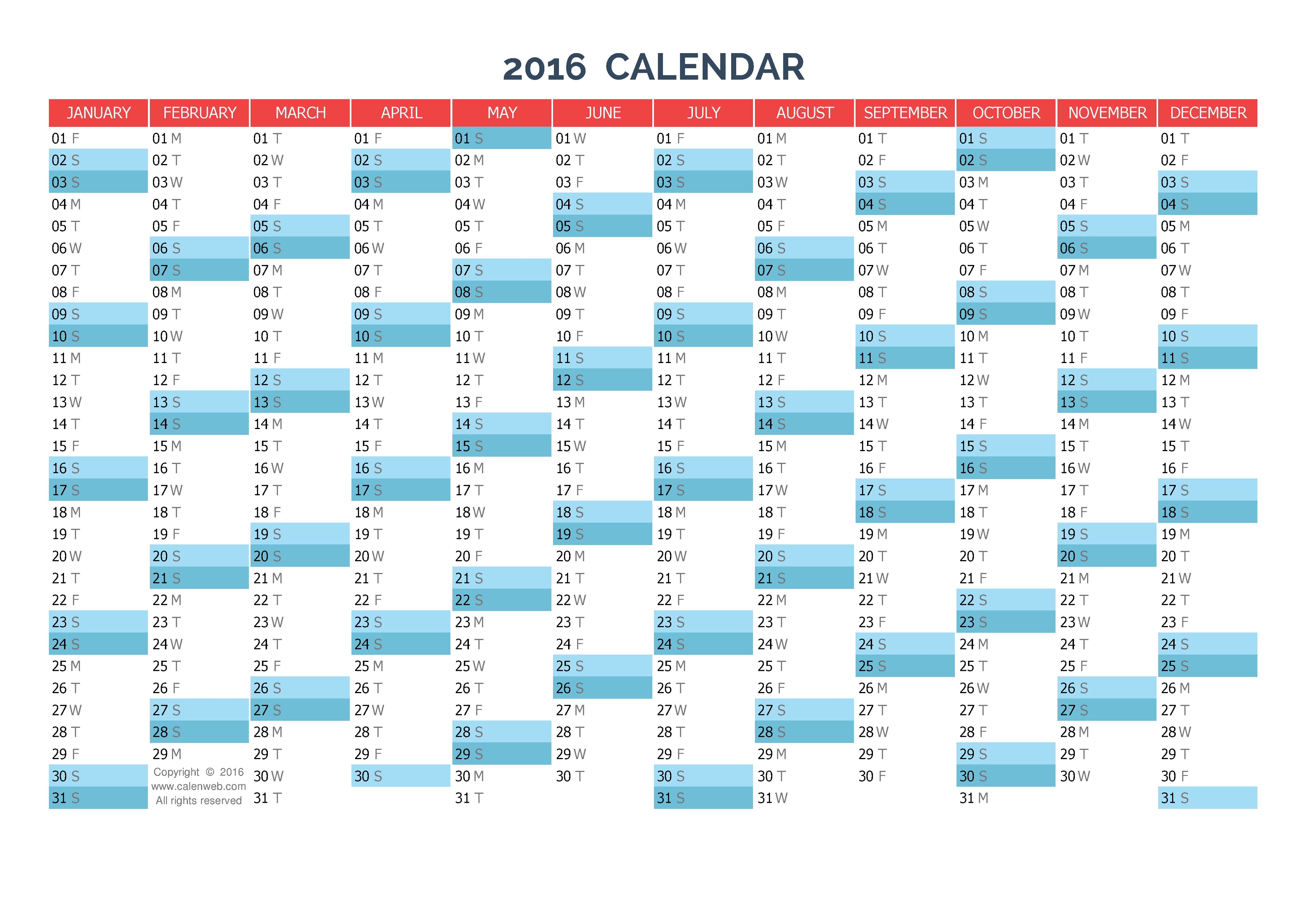yearly calendar 2016 printable new