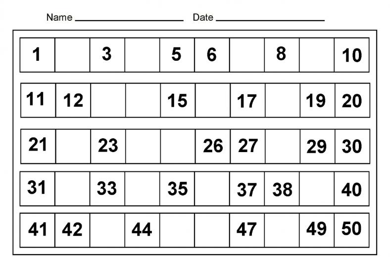 Free Worksheets u00bb 1-50 Number Line - Free Math Worksheets ...