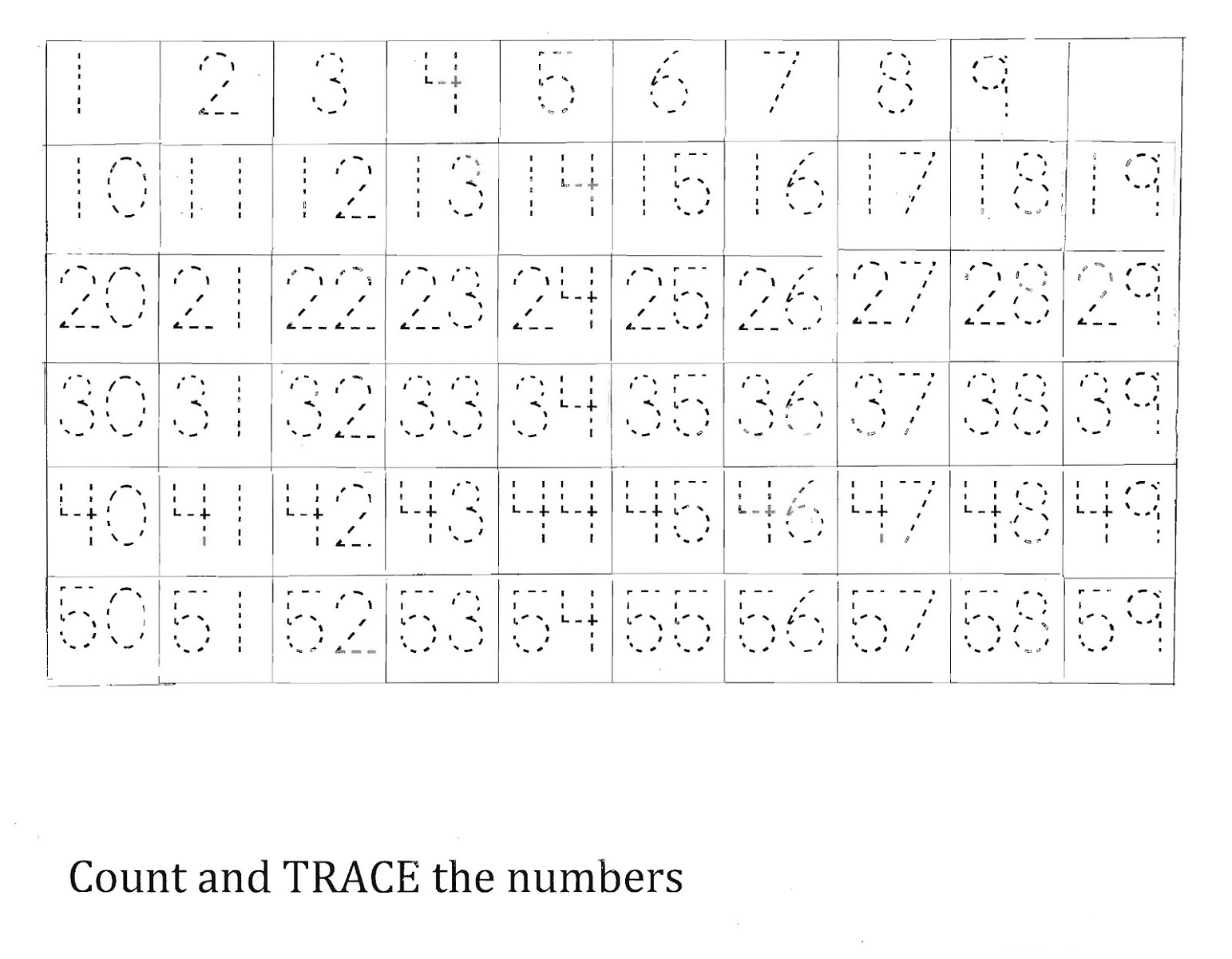 1-50 number chart tracing