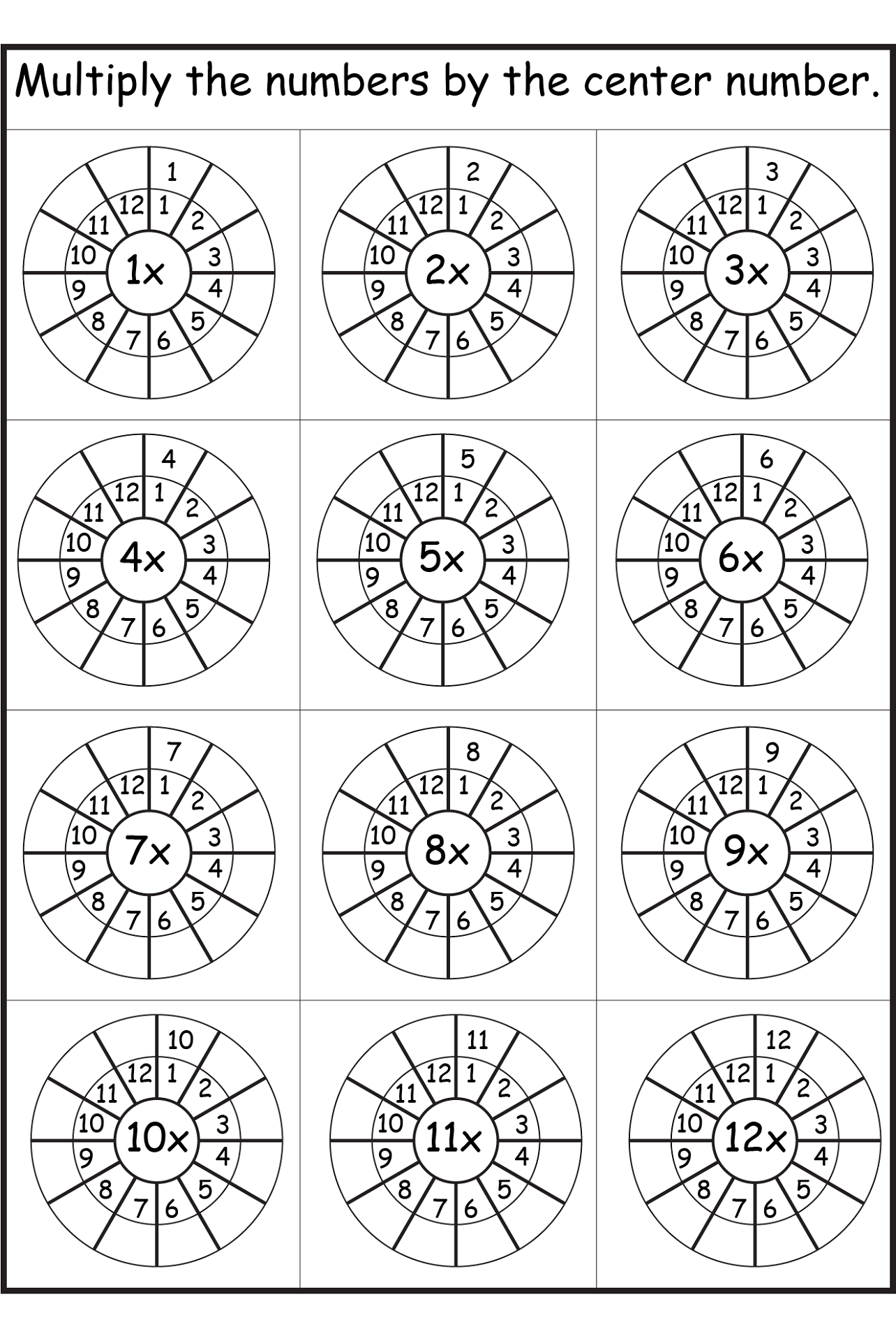 12 times table worksheet counting