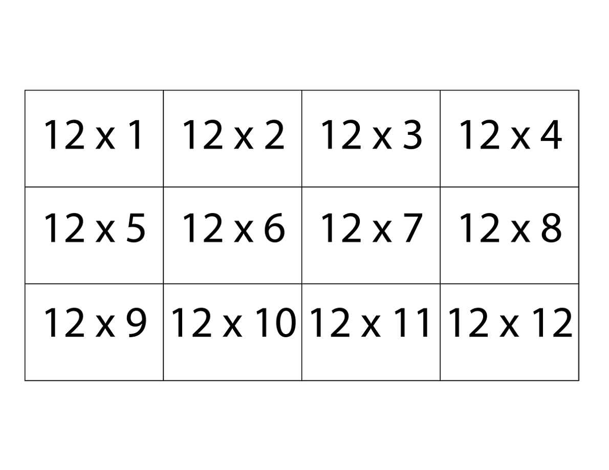 graphic relating to Multiplication Flash Cards Printable 1 12 titled 12 Days Tables Worksheets Recreation Shelter
