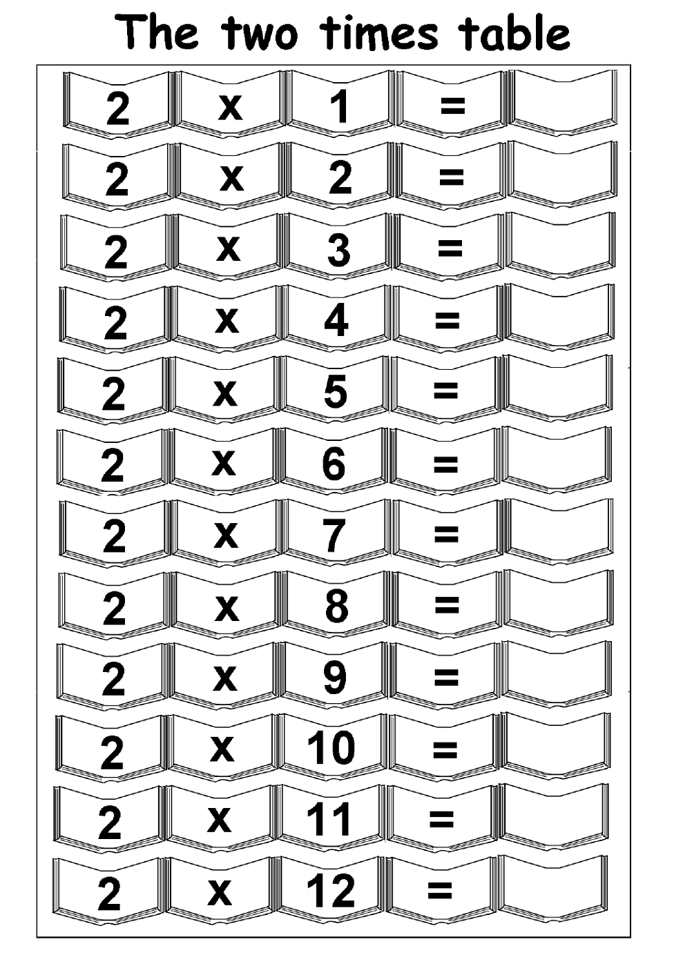 2 times table worksheet for math