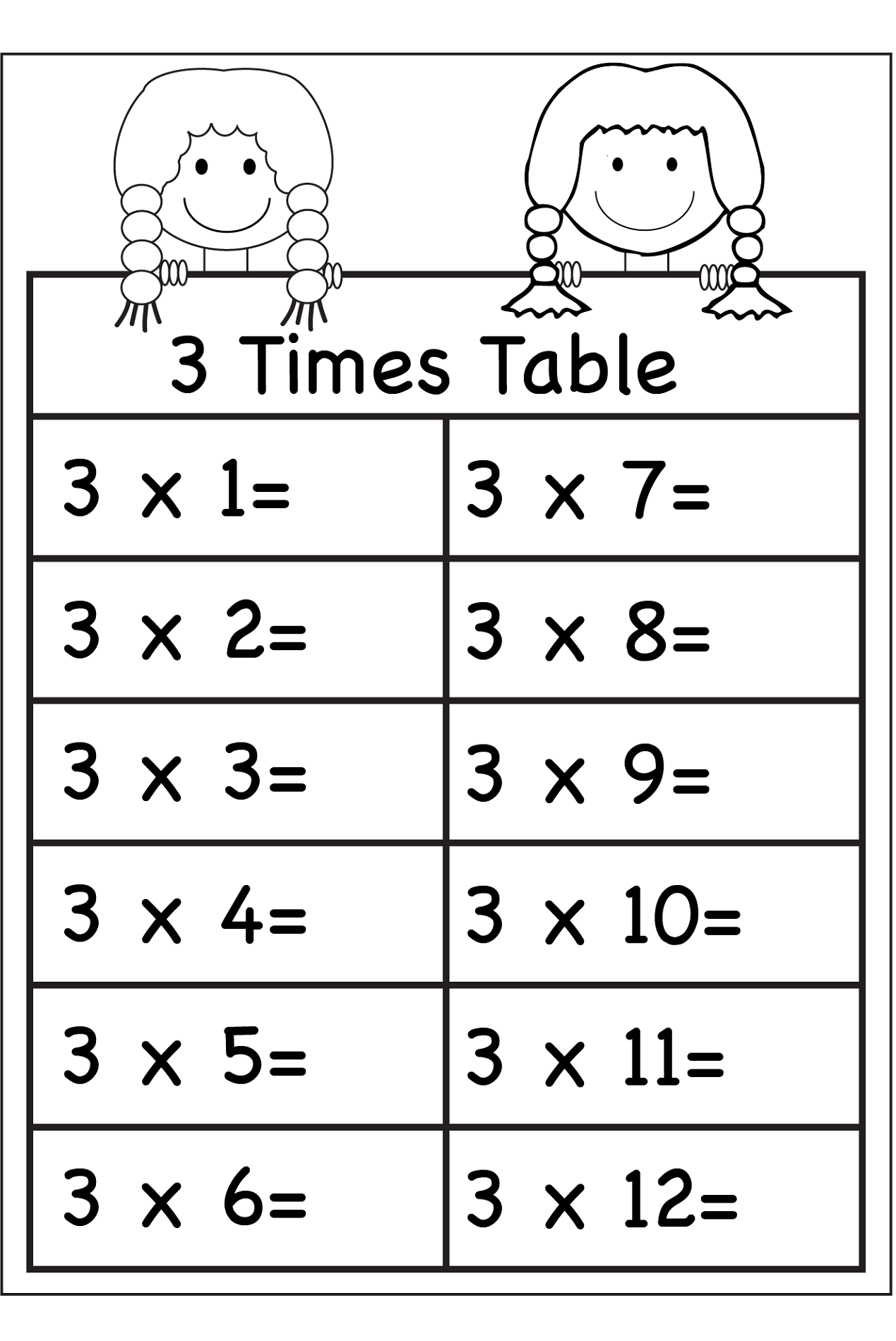 3 times tables worksheets for learning