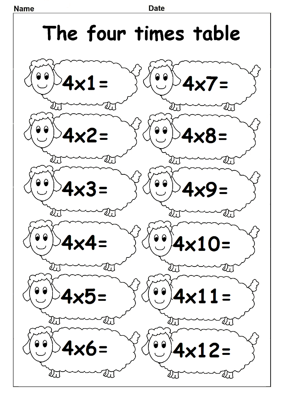 4 times table worksheets for kids