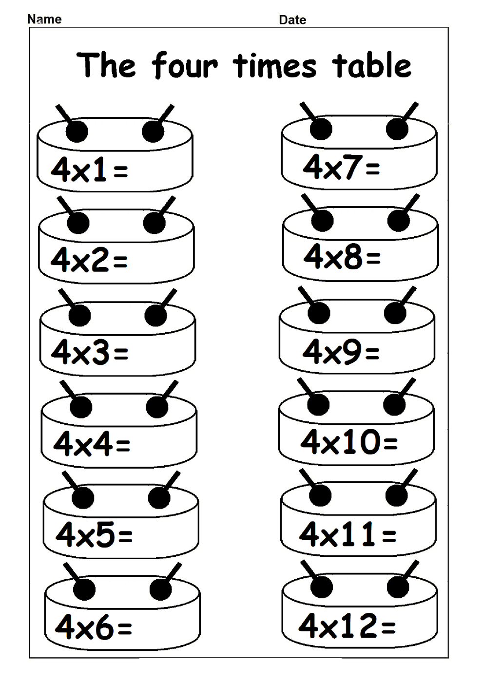 4 times table worksheets multiplication