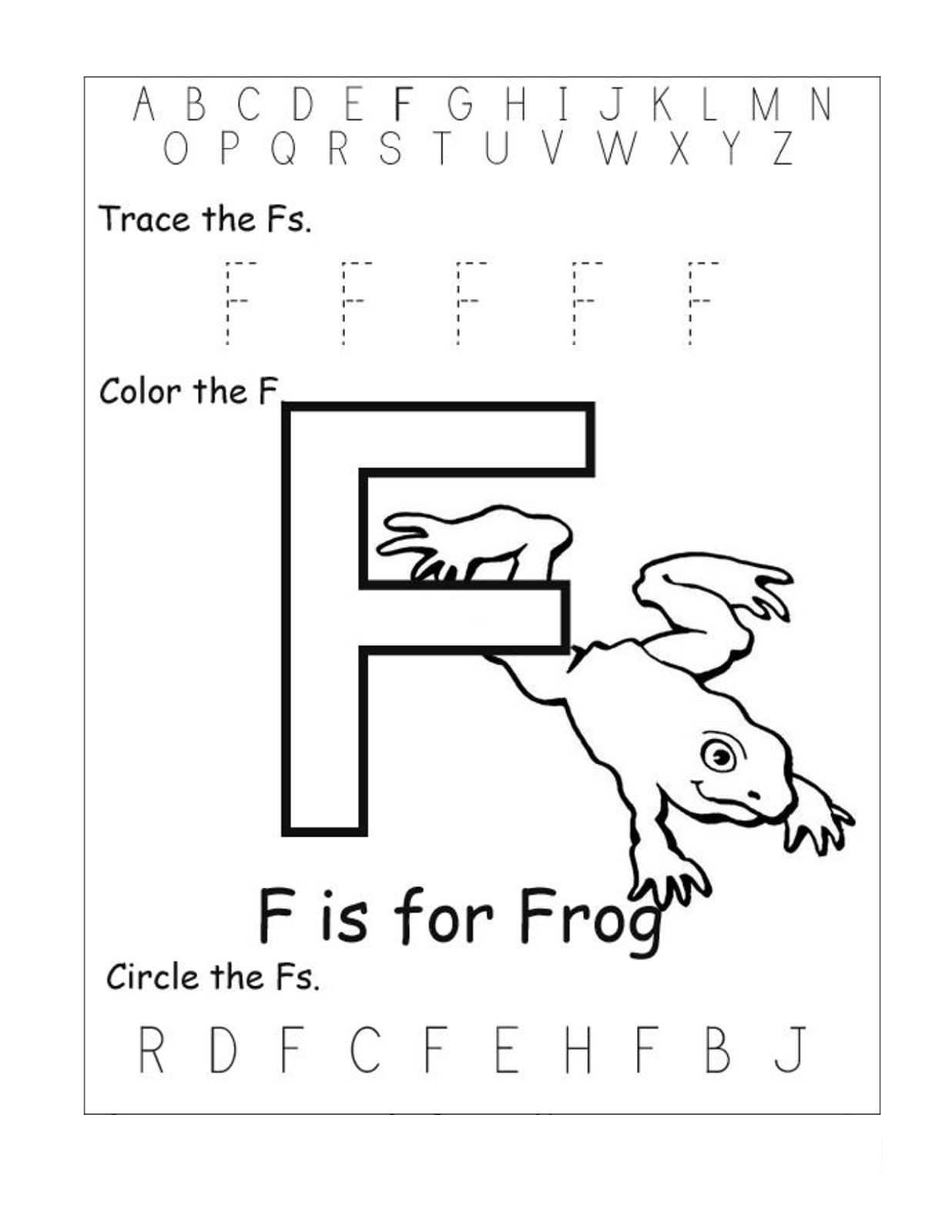 alphabet worksheets free frog