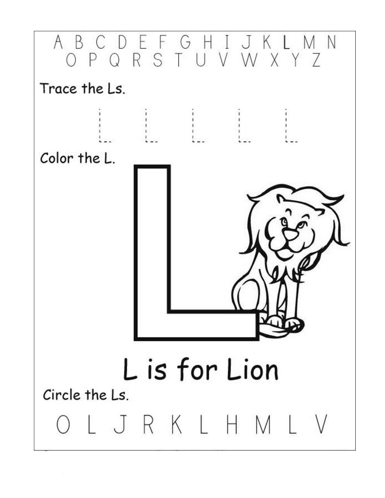 alphabet worksheets free lion