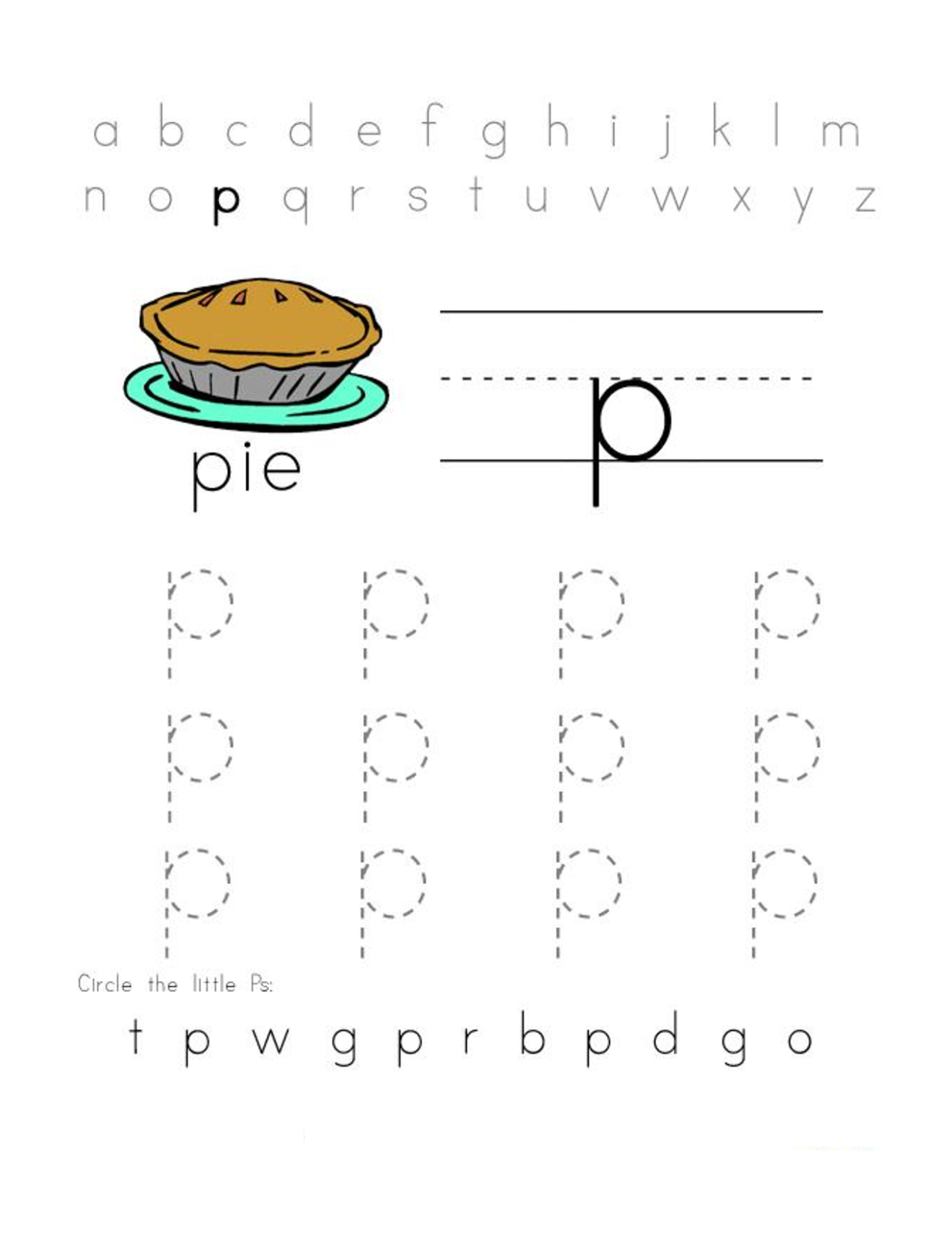 alphabet worksheets free pie