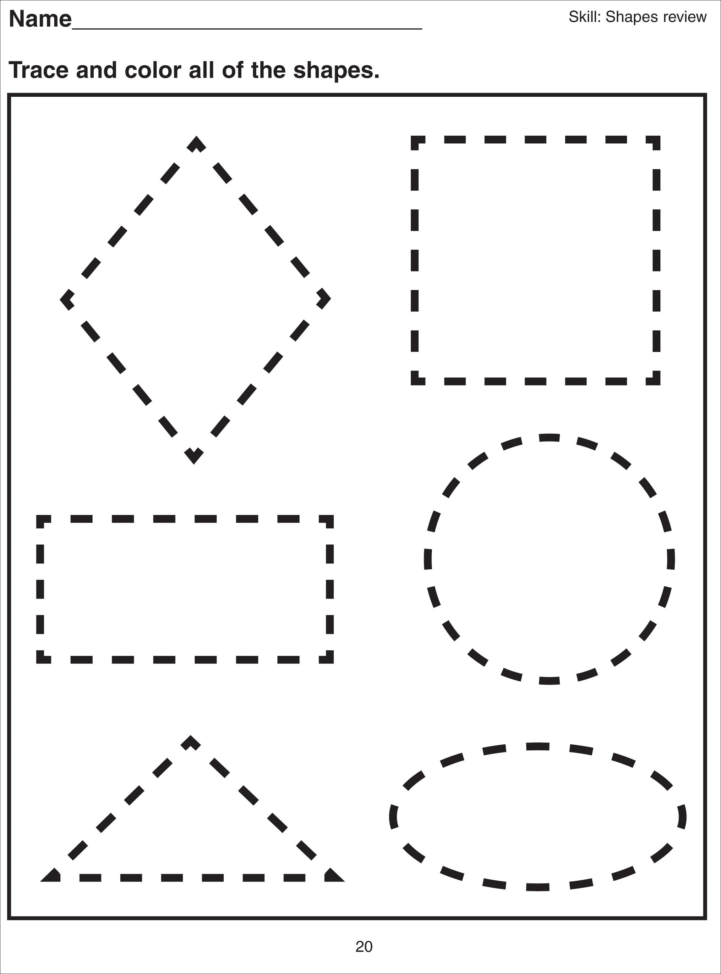 basic shapes worksheets for school