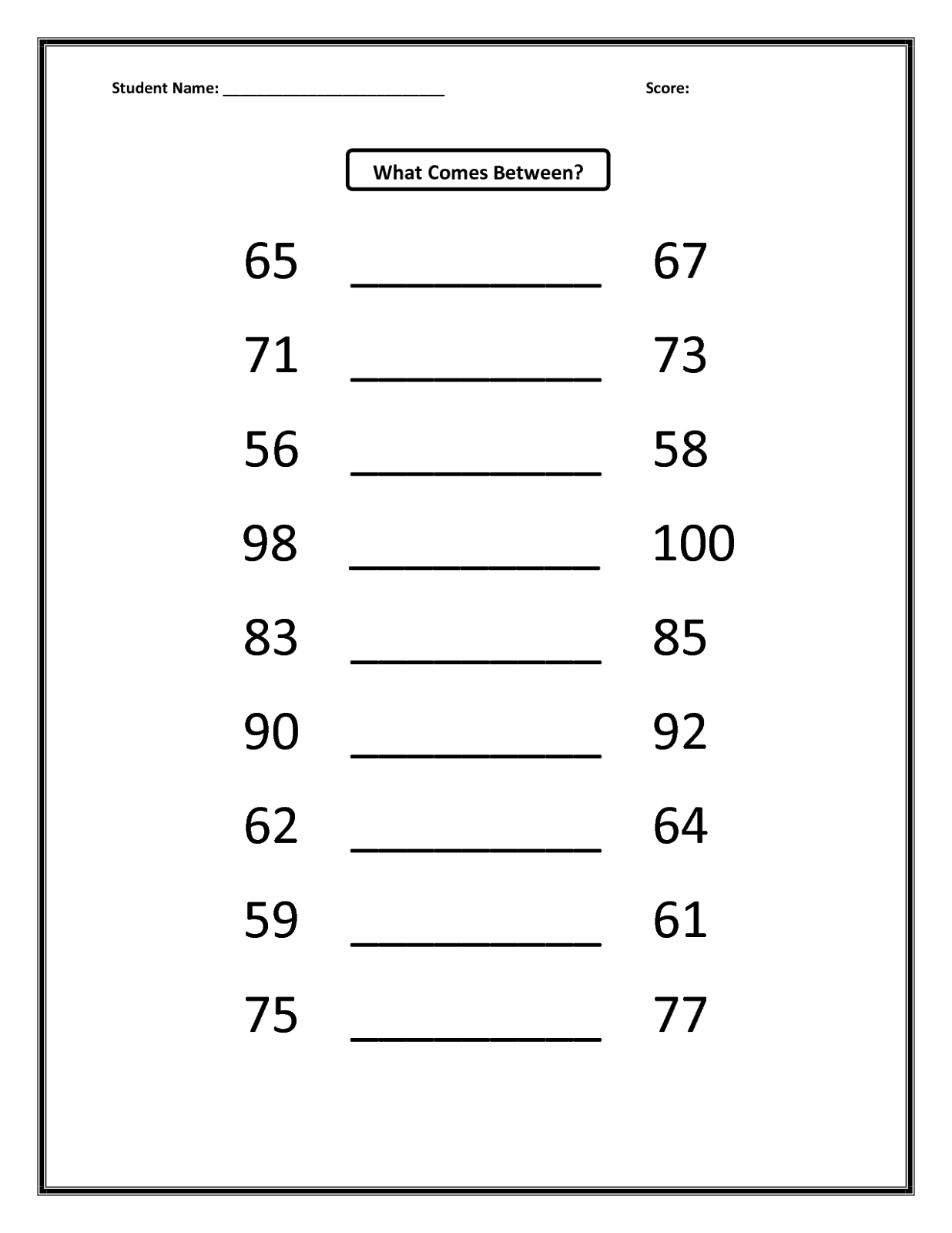 before and after number worksheet exercise
