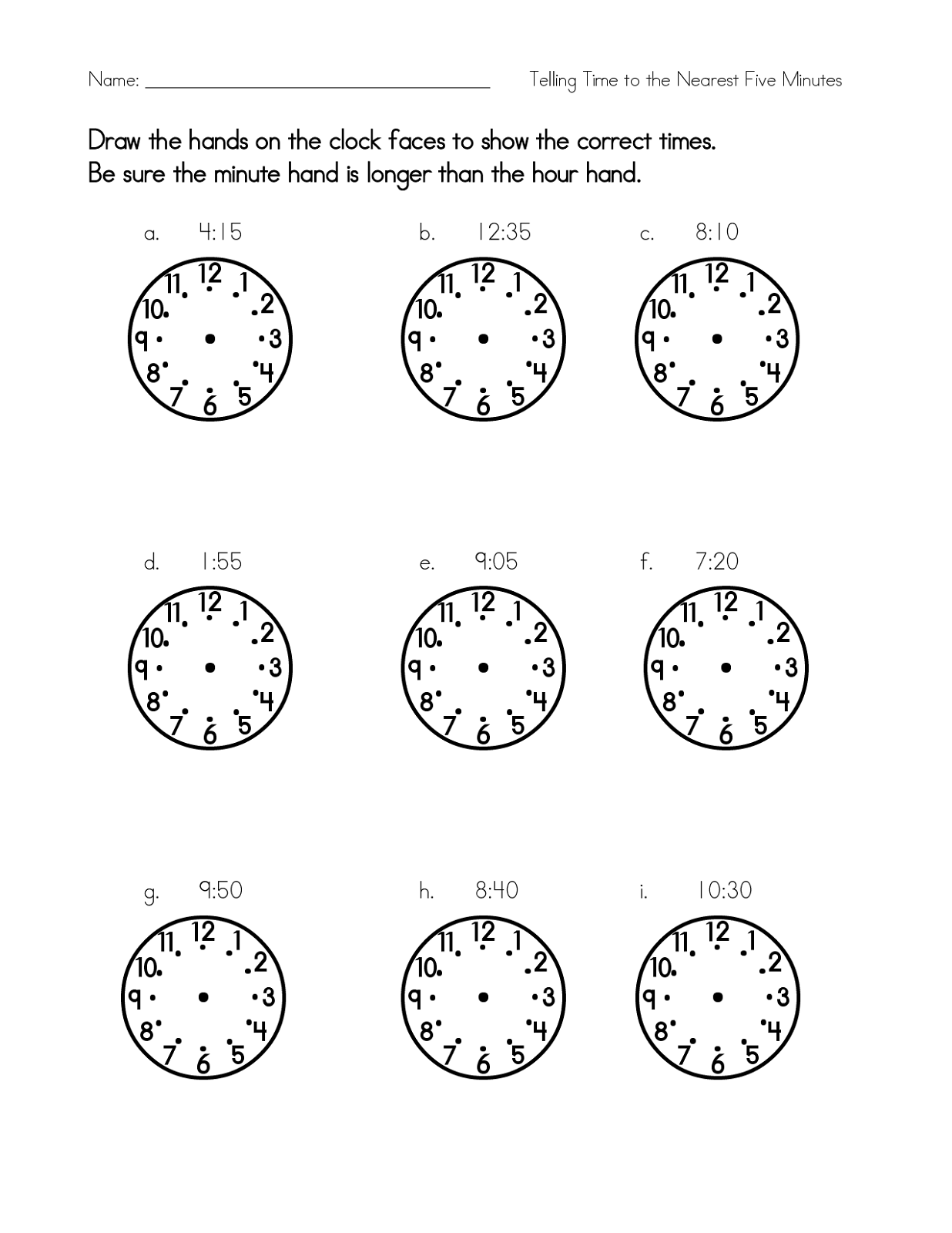 blank clock face worksheet exercise