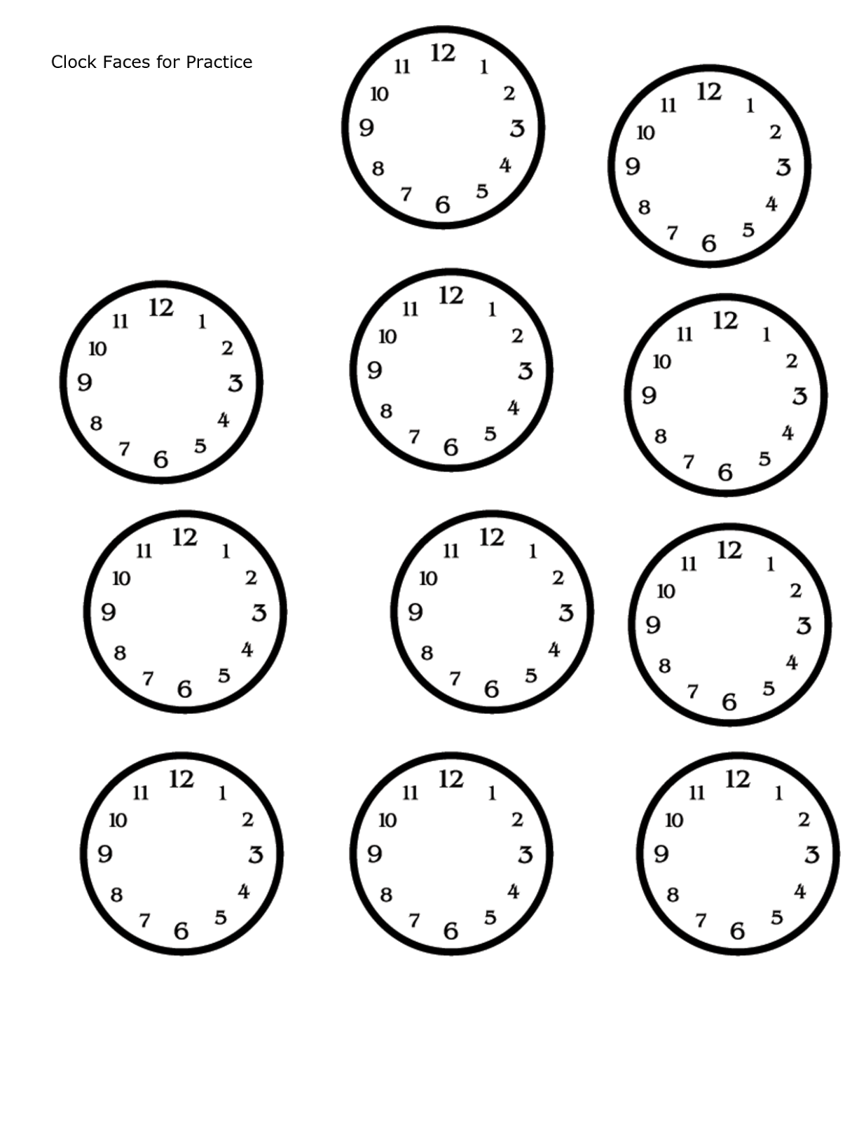Blank clock face worksheets activity shelter for Printable clock hands template