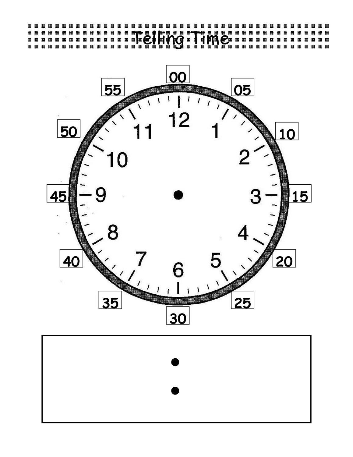 blank clock face worksheet to learn