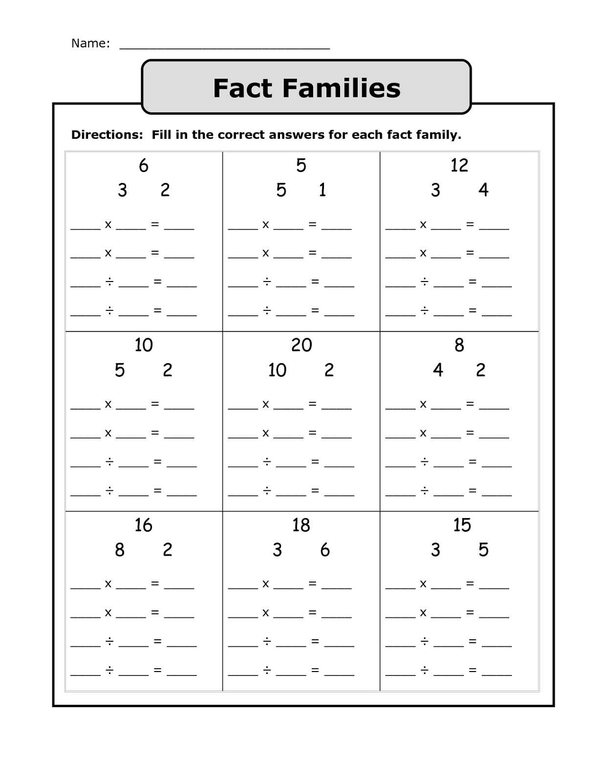 blank fact family worksheet exercise