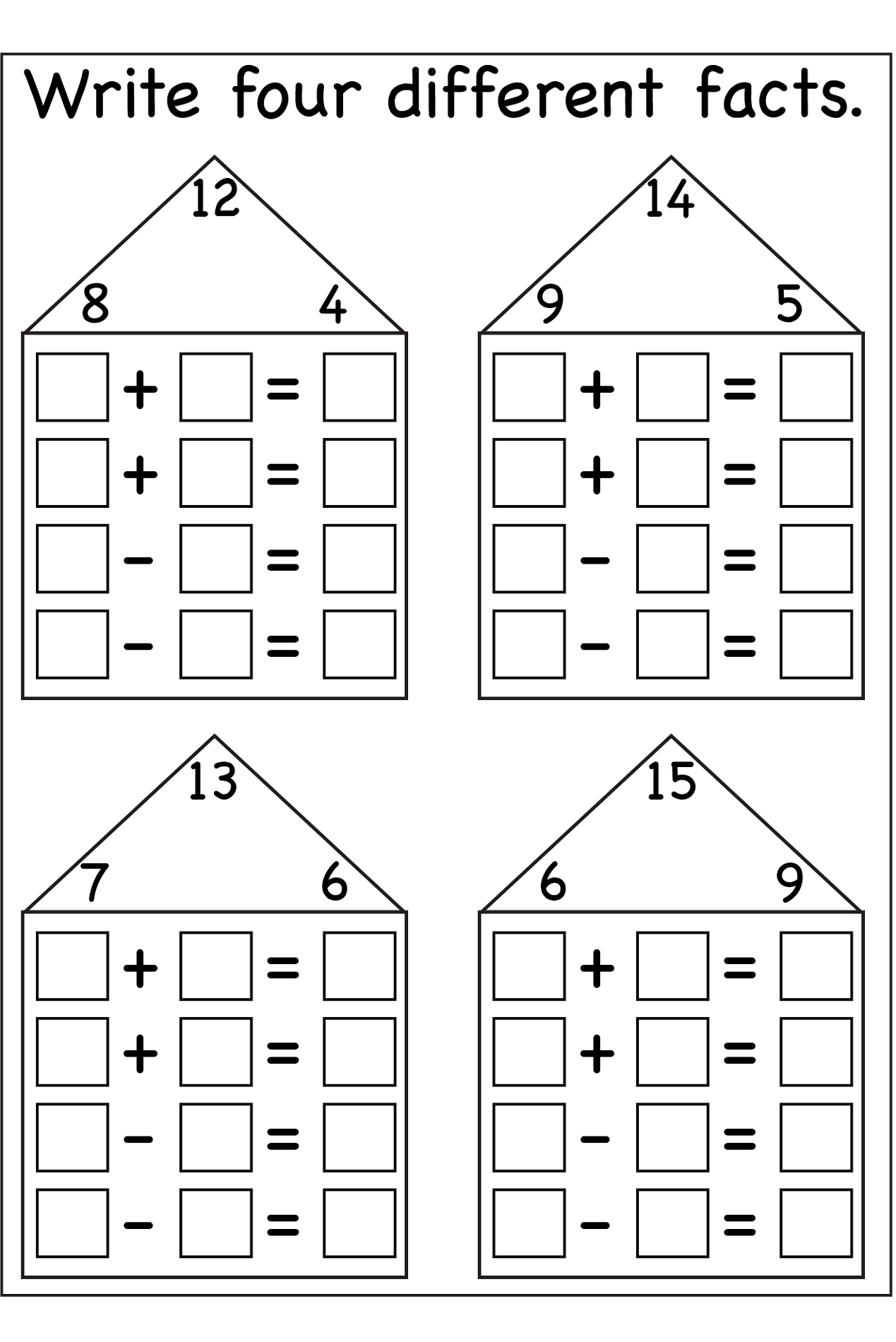 Blank Fact Family Worksheets – Fact Families Addition and Subtraction Worksheets