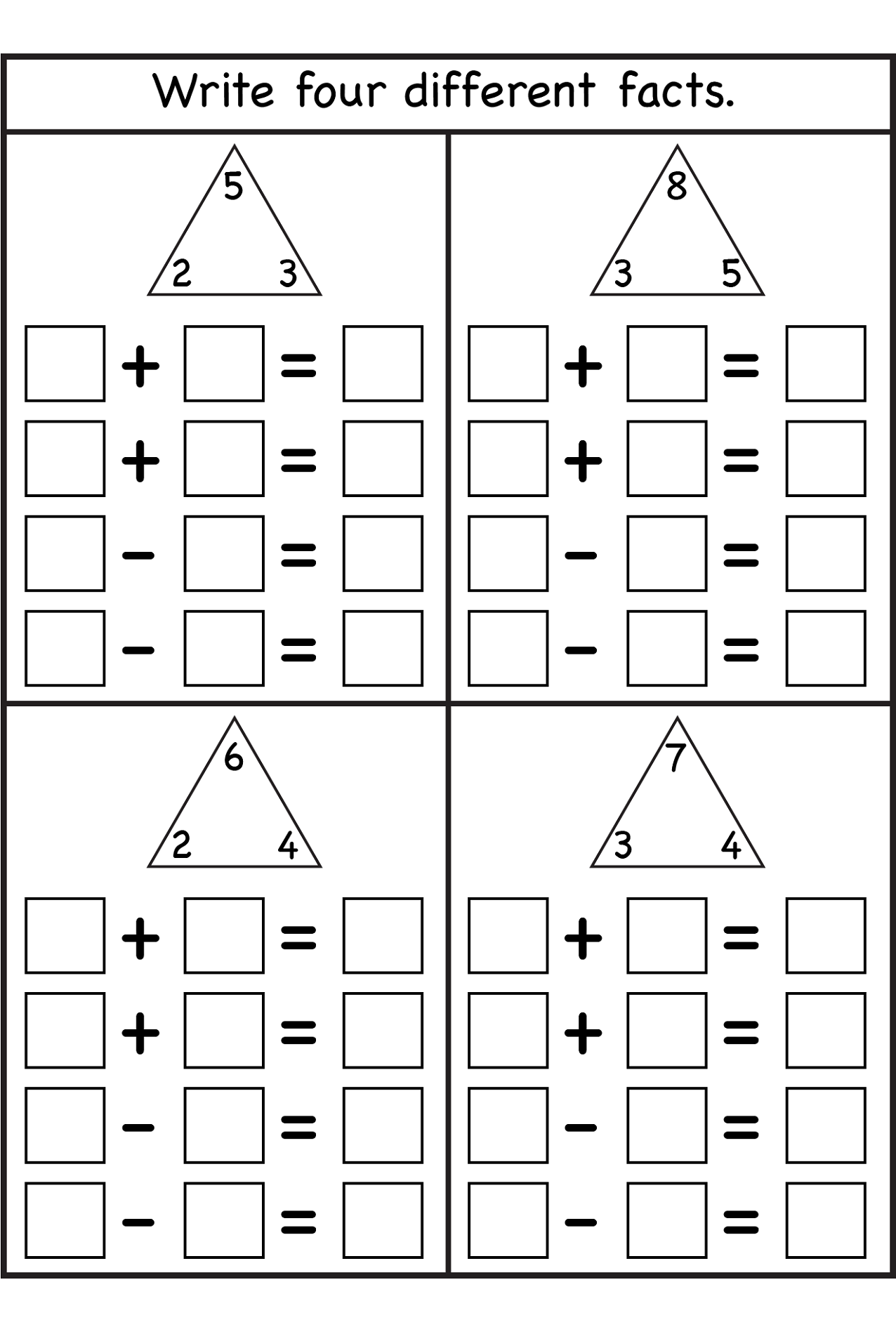 blank-fact-family-worksheets-printable  St Grade Math Worksheets Addition And Subtraction on combo practice, for kindergarten, single digit, 5th grade, for grage 4, large print,