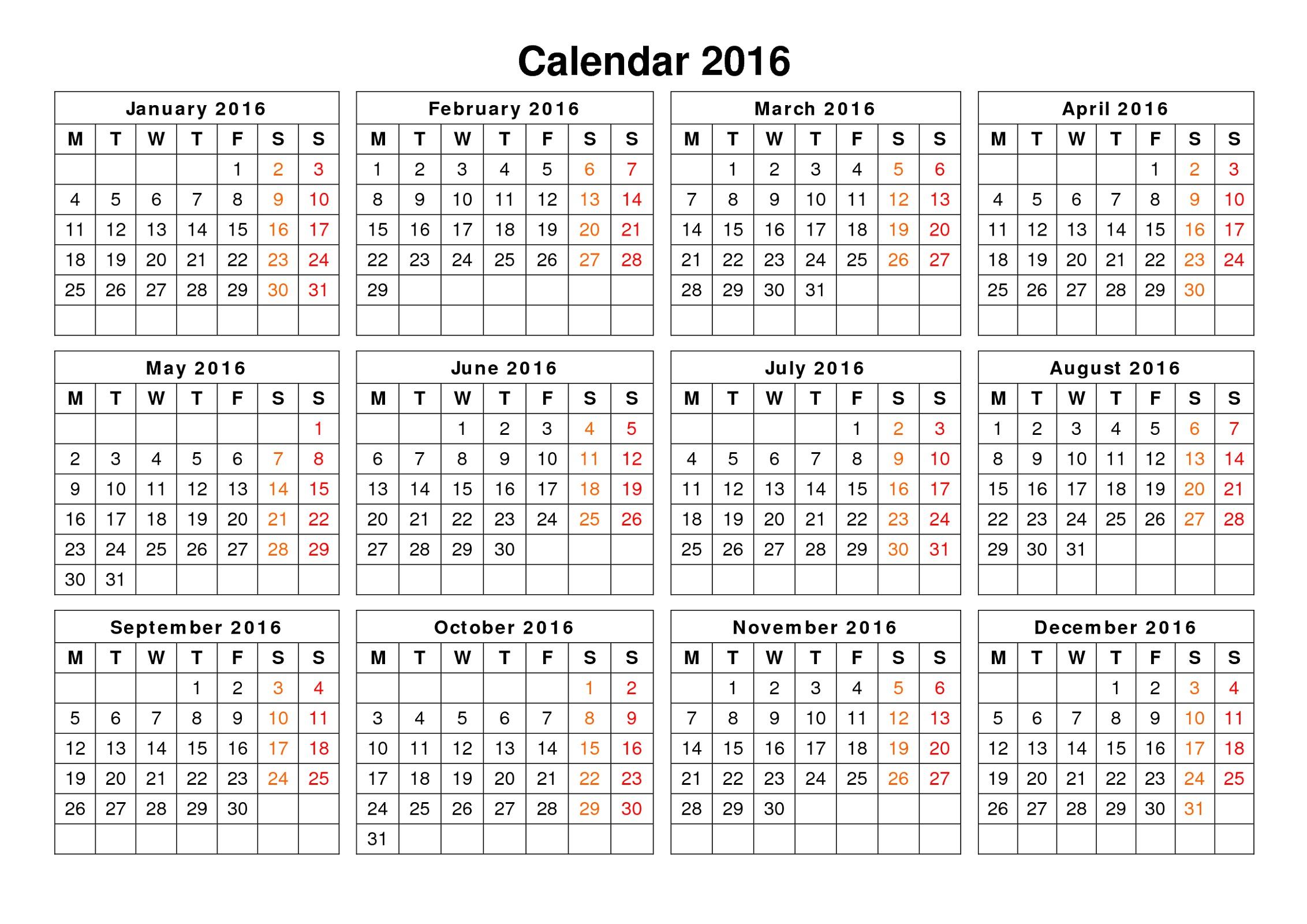 calendar 2016 printable a year