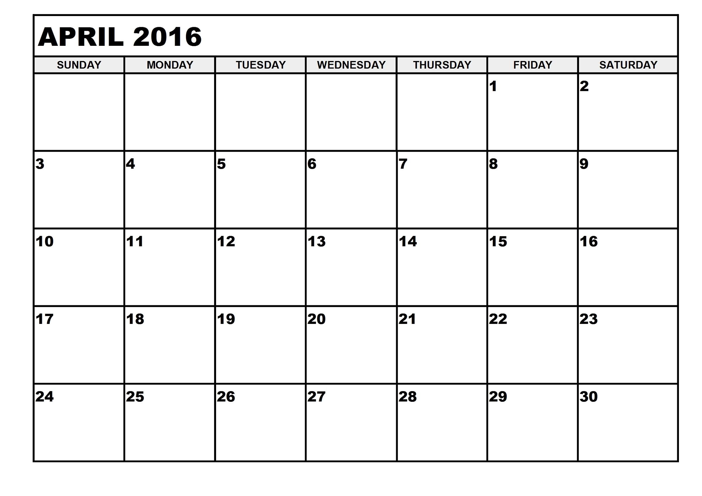 calendar 2016 printable april