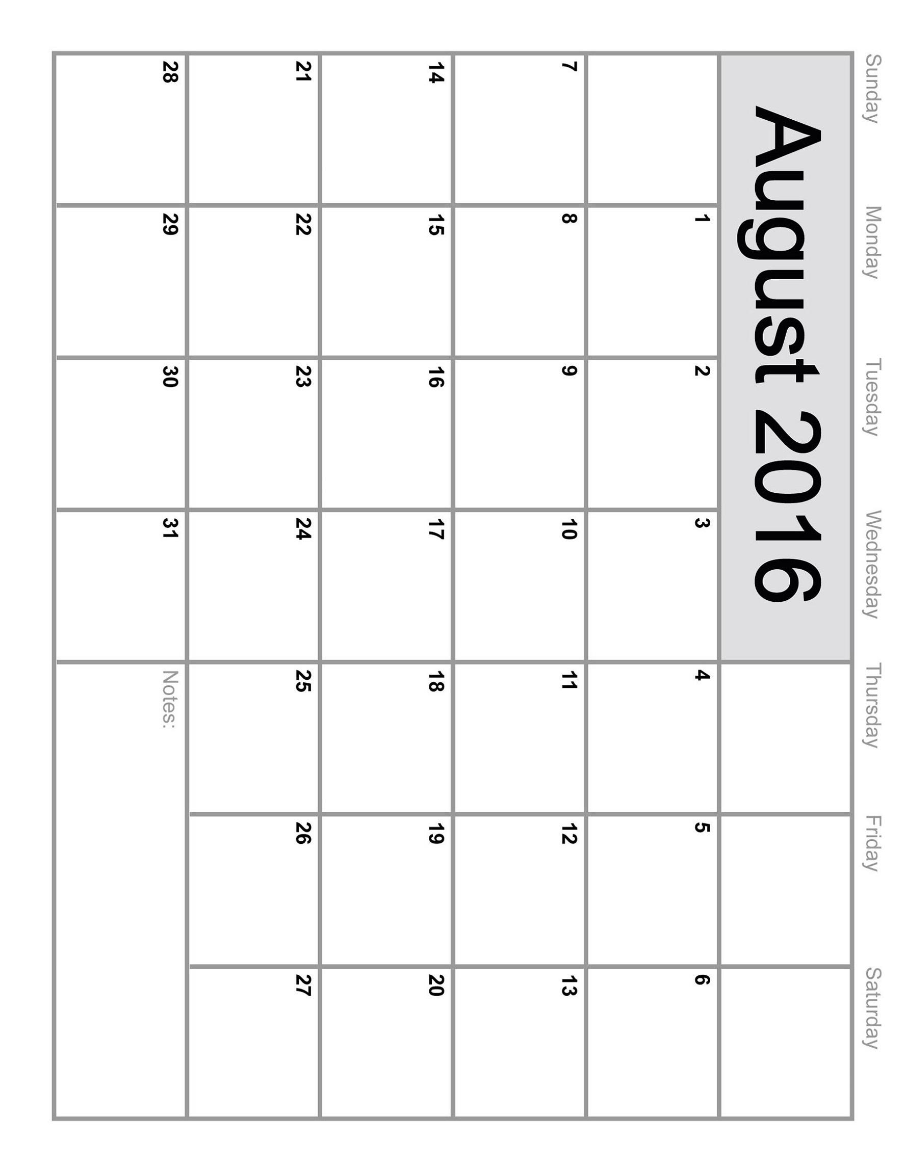calendar 2016 printable august